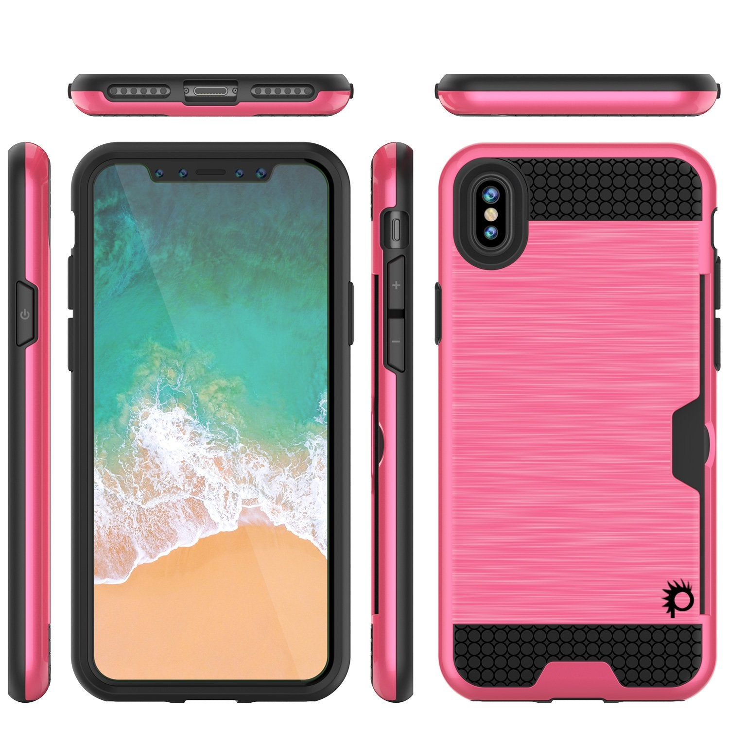iPhone X Case, PUNKcase [SLOT Series] Slim Fit Dual-Layer Armor Cover & Tempered Glass PUNKSHIELD Screen Protector for Apple iPhone X [Pink]