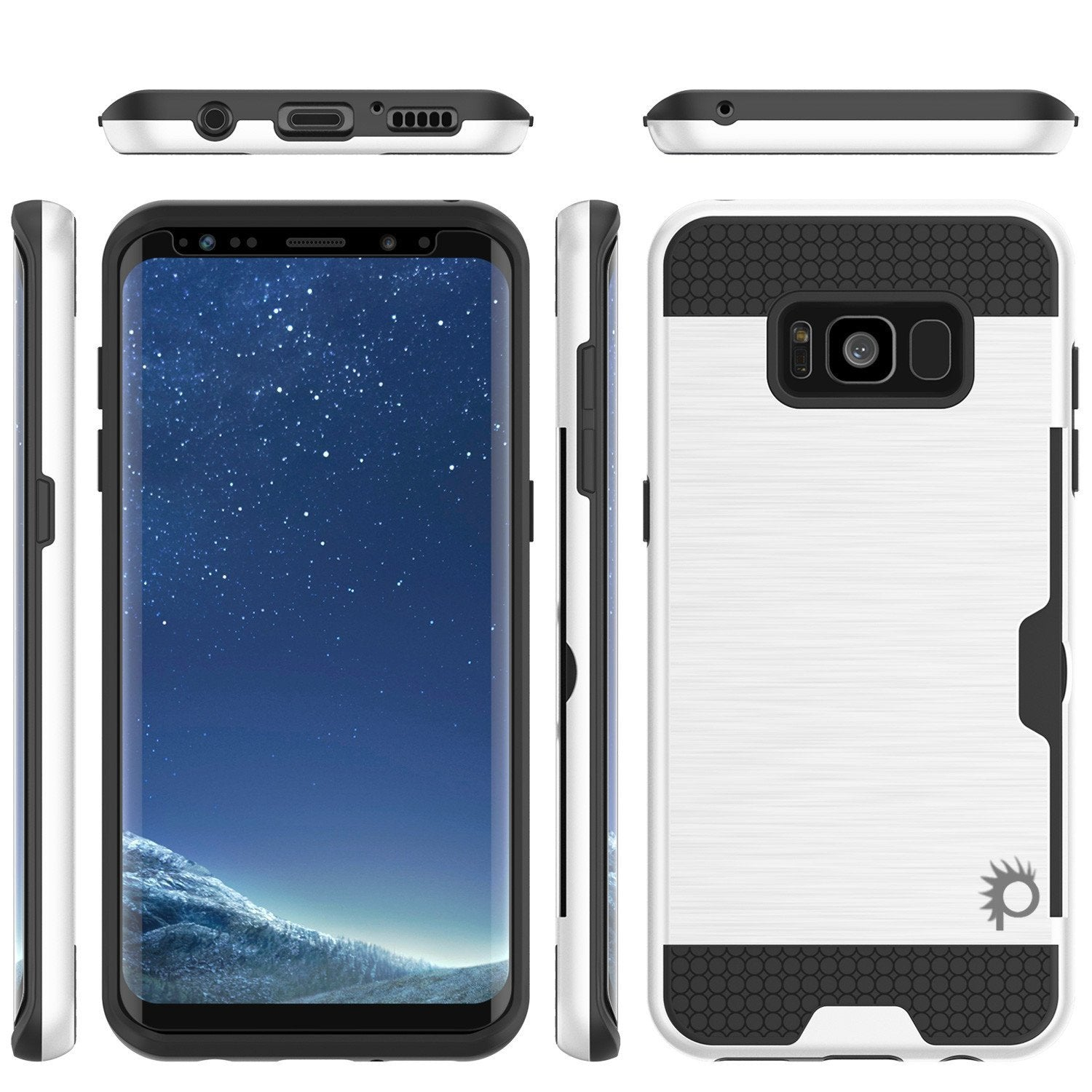 Galaxy S8 Case, PUNKcase [SLOT Series] Dual-Layer Armor Cover w/Integrated Anti-Shock System, Credit Card Slot & Screen Protector [White]