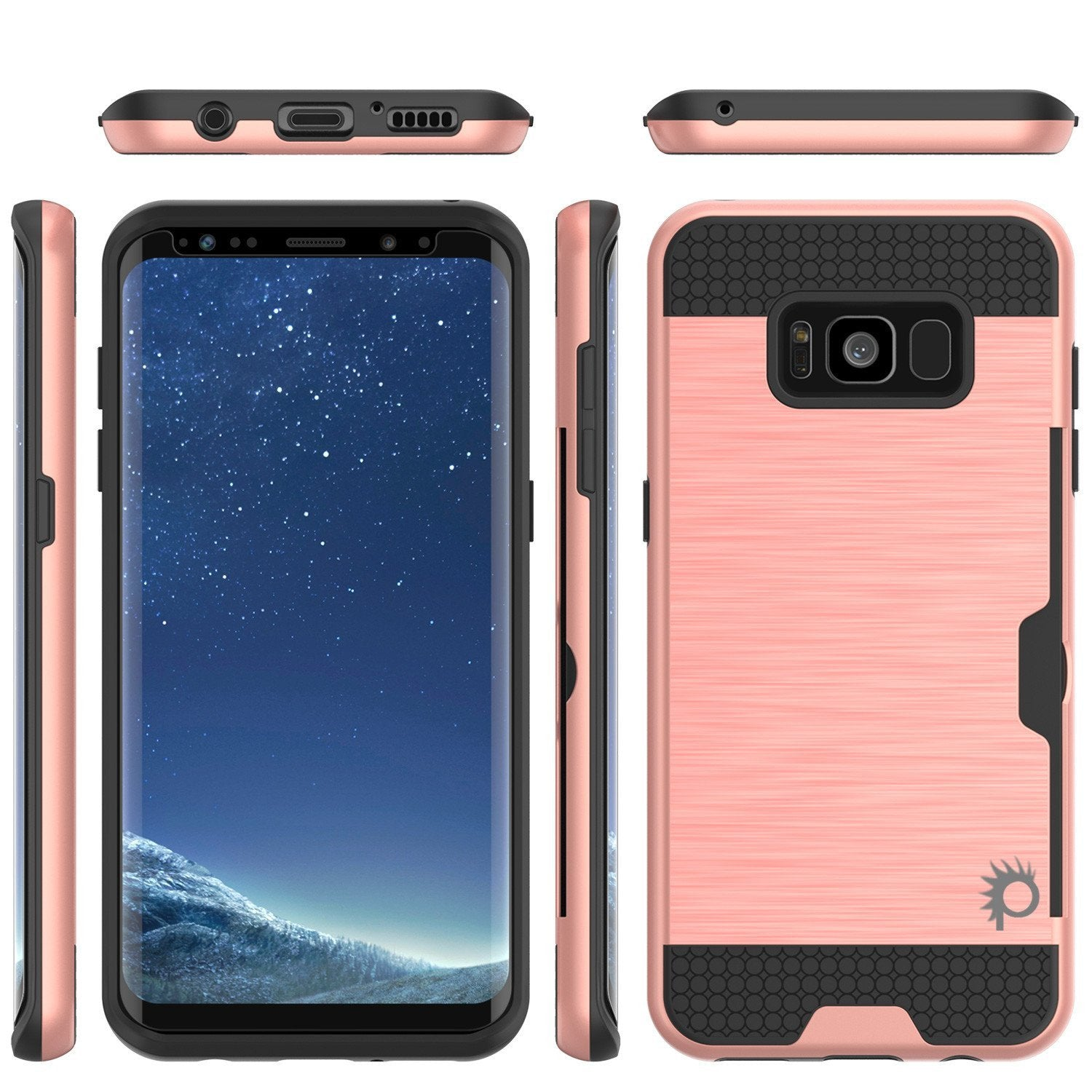 Galaxy S8 Case, PUNKcase [SLOT Series] Dual-Layer Armor Cover w/Integrated Anti-Shock System, Credit Card Slot & Screen Protector [Rose Gold]