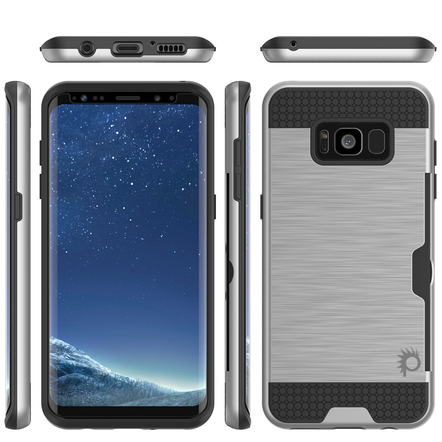 Galaxy S8 Plus Dual-Layer Anti-Shock Screen Protector Case [Silver]