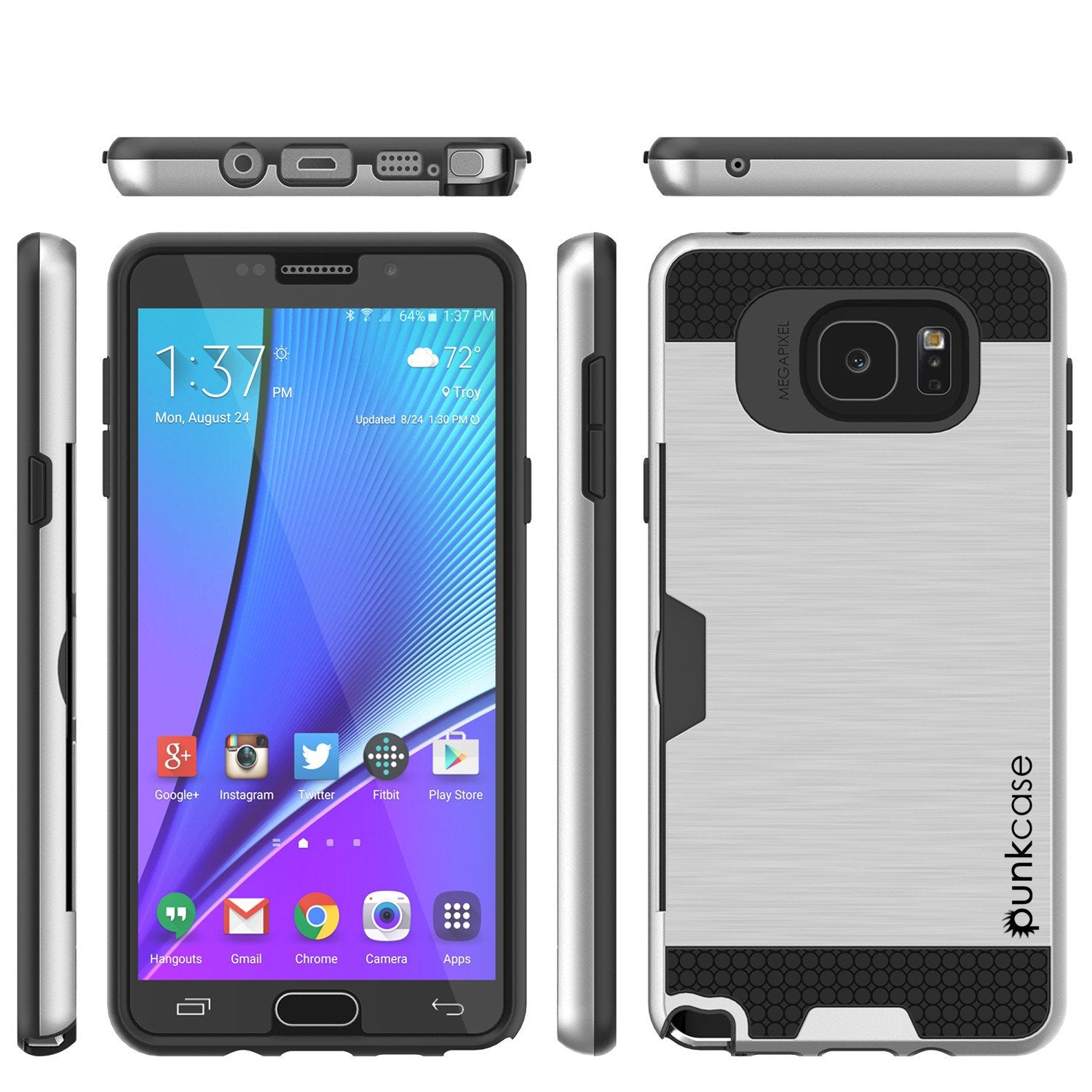 Galaxy Note 5 Case PunkCase SLOT Silver Series Slim Armor Soft Cover Case w/ Tempered Glass