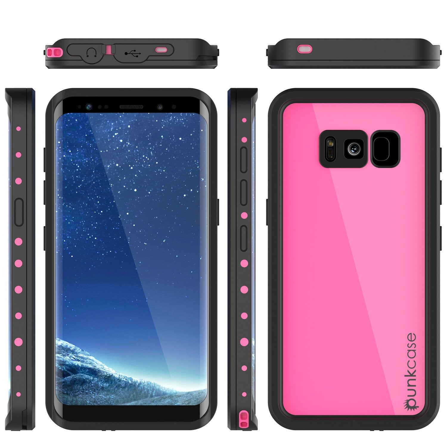 Galaxy S8 Waterproof Case PunkCase StudStar Pink Thin 6.6ft Underwater IP68 Shock/Snow Proof