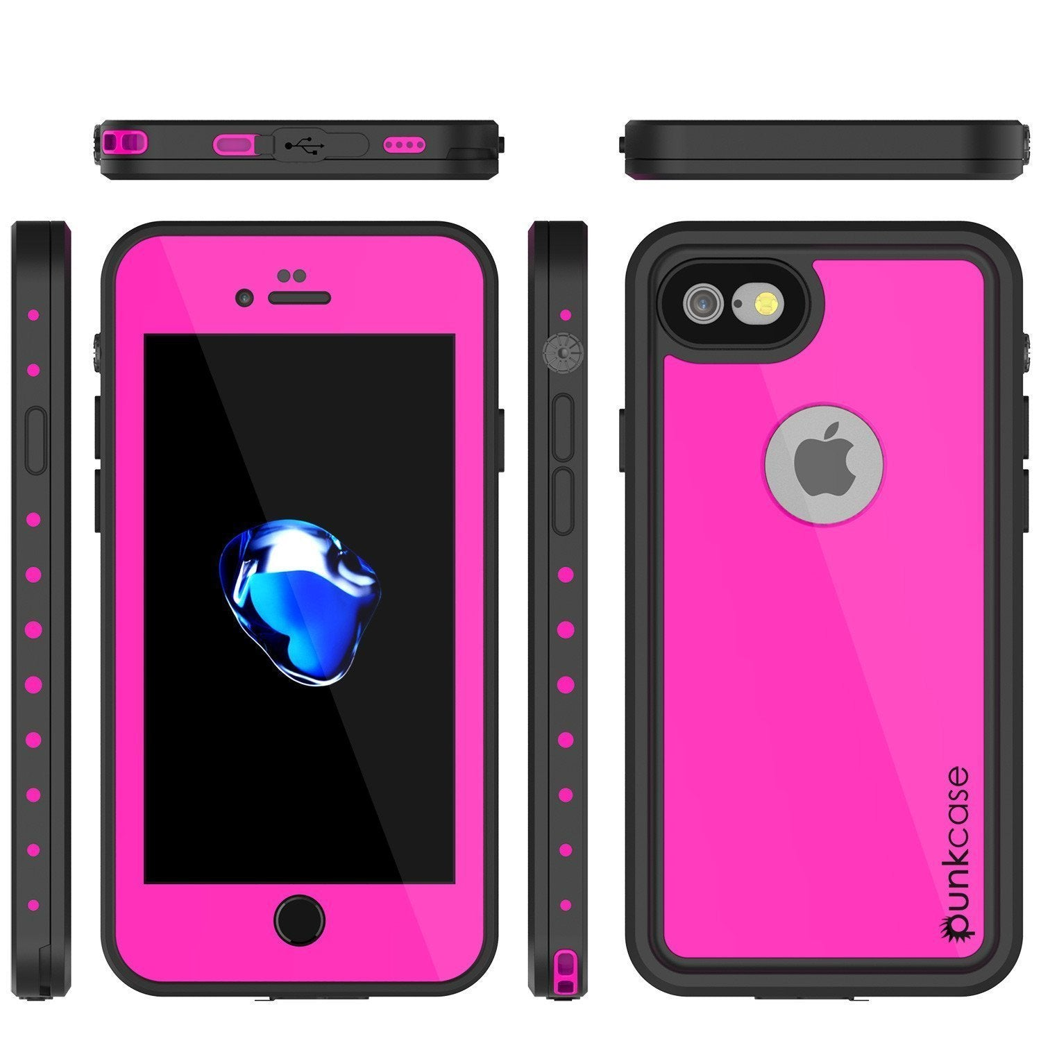 iPhone 8 Waterproof Case, Punkcase [Pink] [StudStar Series] [Slim Fit][IP68 Certified]  [Dirtproof] [Snowproof]