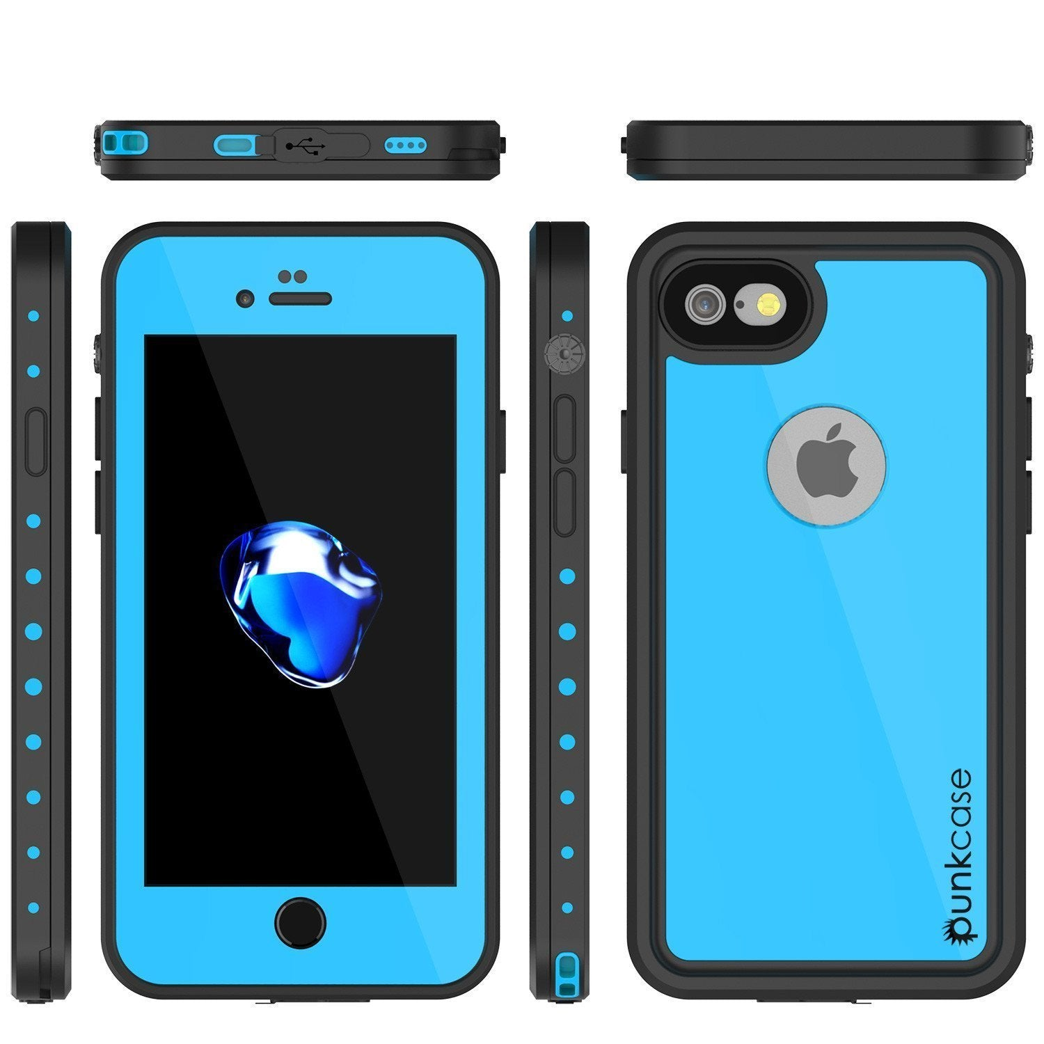 iPhone 8 Waterproof Case, Punkcase [Light Blue] [StudStar Series]  [Slim Fit] [IP68 Certified] [Dirt/Snow Proof]