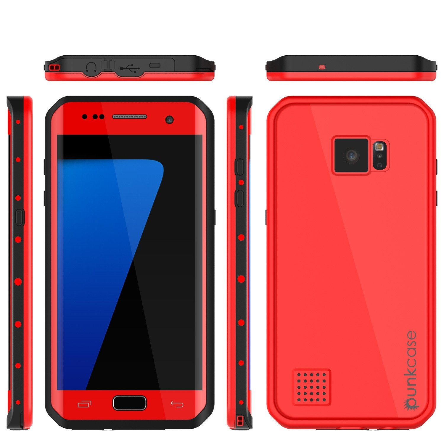 Galaxy S7 EDGE Waterproof Case PunkCase StudStar Red Thin 6.6ft Underwater IP68 Shock/Snow Proof