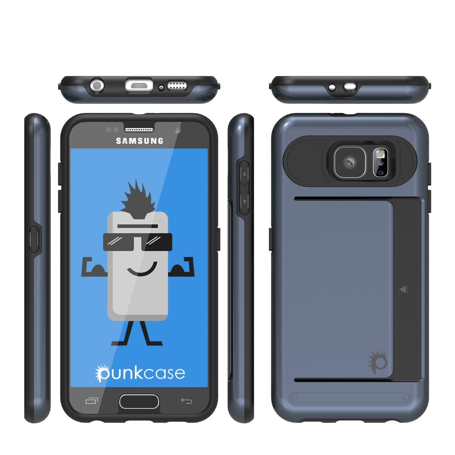 Galaxy s6 Case PunkCase CLUTCH Navy Series Slim Armor Soft Cover Case w/ Tempered Glass