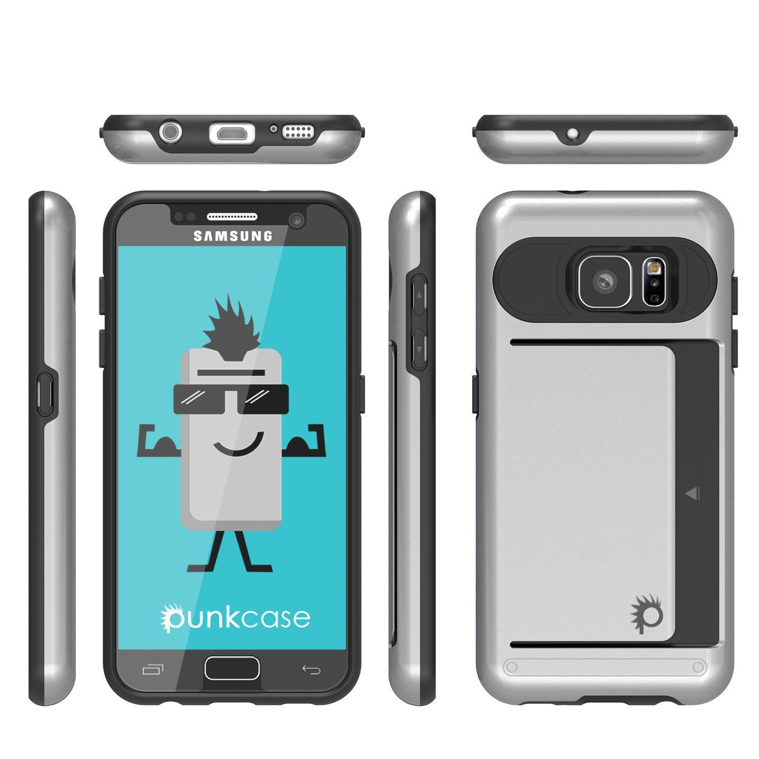Galaxy S7 EDGE Case PunkCase CLUTCH Silver Series Slim Armor Soft Cover Case w/ Screen Protector