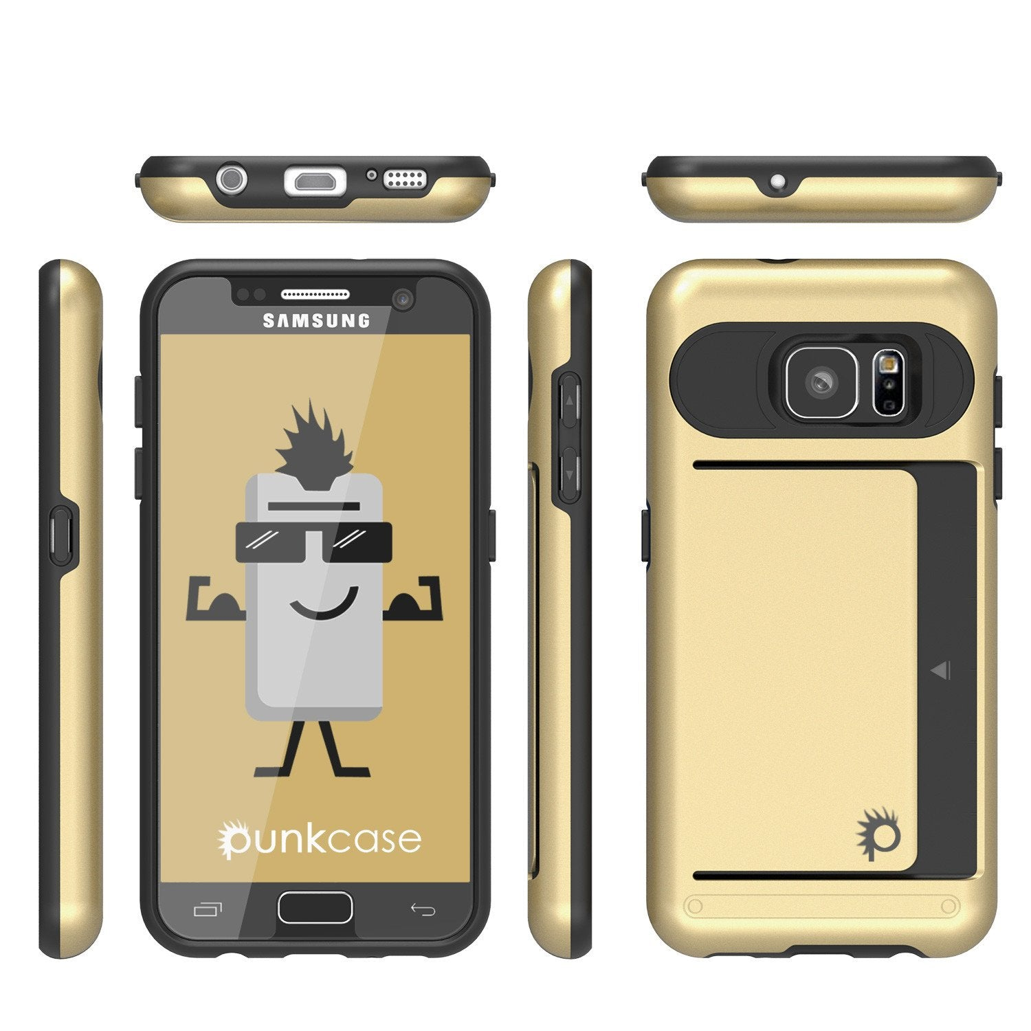 Galaxy s7 Case PunkCase CLUTCH Gold Series Slim Armor Soft Cover Case w/ Tempered Glass
