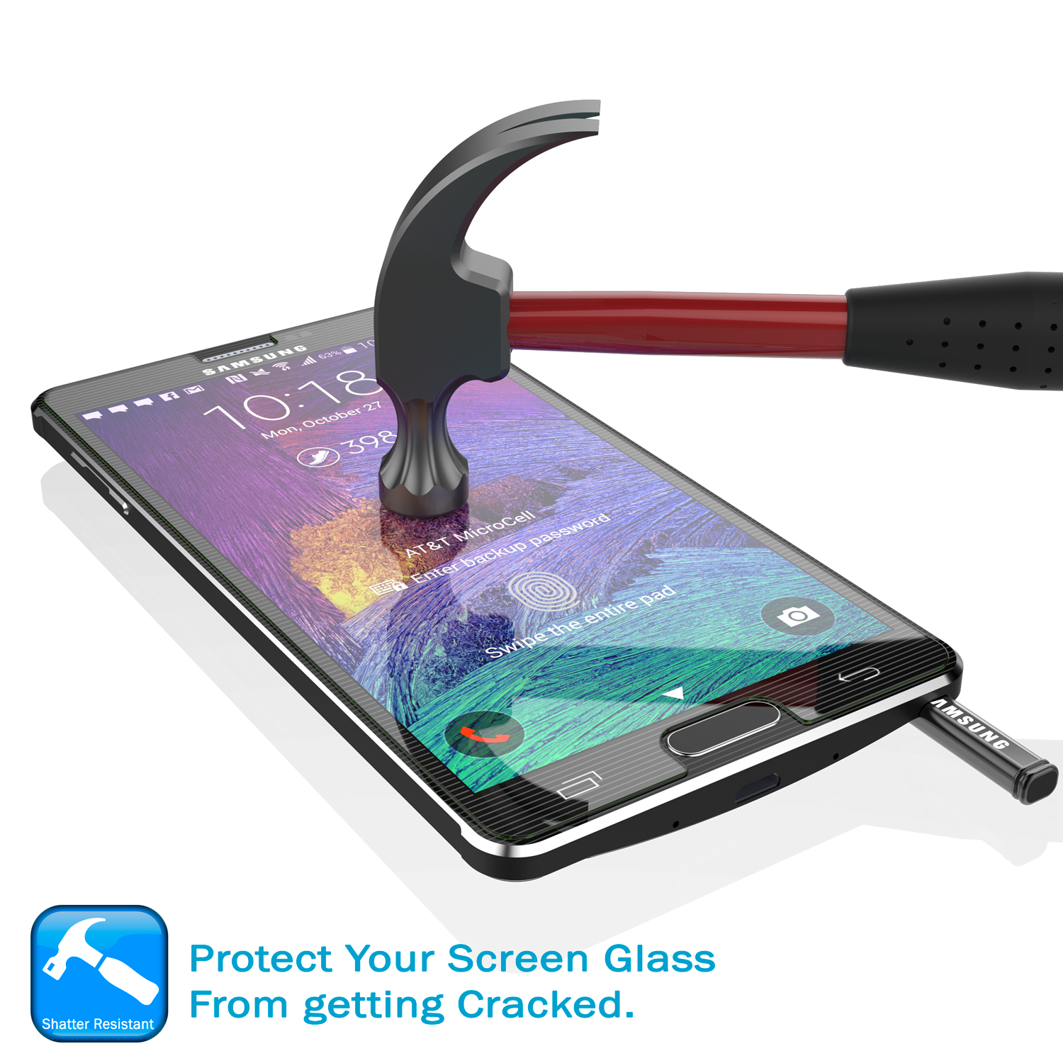 Galaxy Note 4 Punkcase Glass SHIELD Tempered Glass Screen Protector 0.33mm Thick 9H Glass Screen