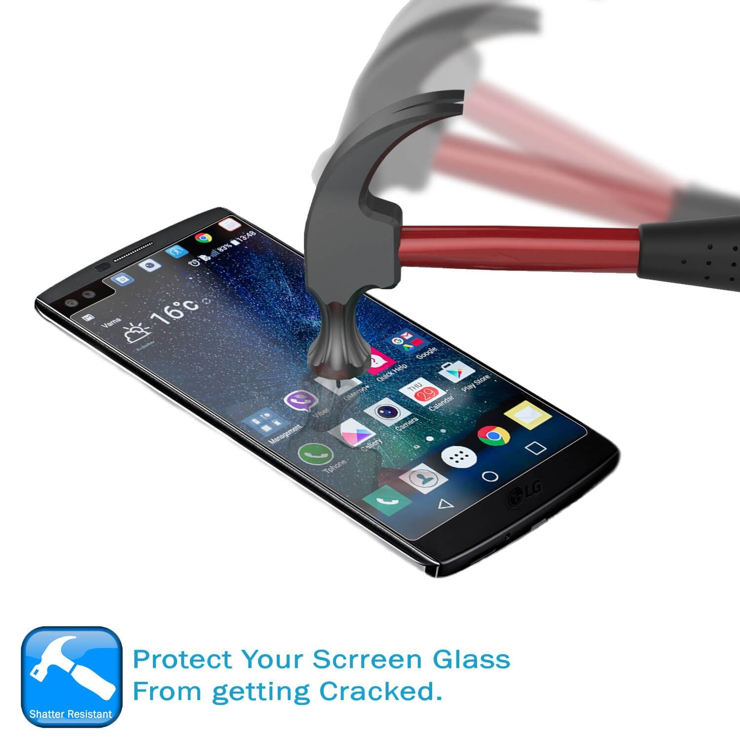 LG v10 Punkcase Glass SHIELD Tempered Glass Screen Protector 0.33mm Thick 9H Glass