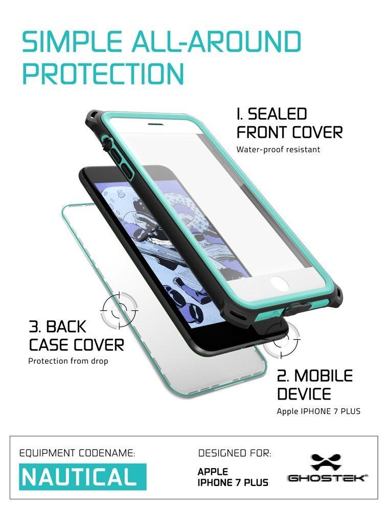 iPhone 8+ Plus Waterproof Case, Ghostek Nautical Series for iPhone 8+ Plus | Slim Underwater Protection | Adventure Duty | Swimming (Teal)
