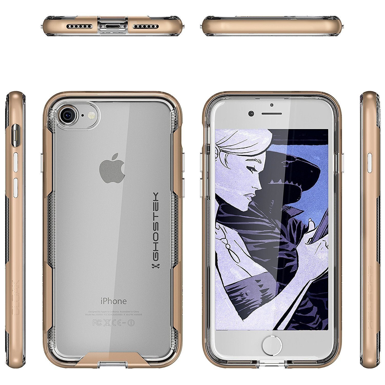 iPhone 7 Case, Ghostek Cloak 3 Series for iPhone 7 Clear Protective Case | Gold