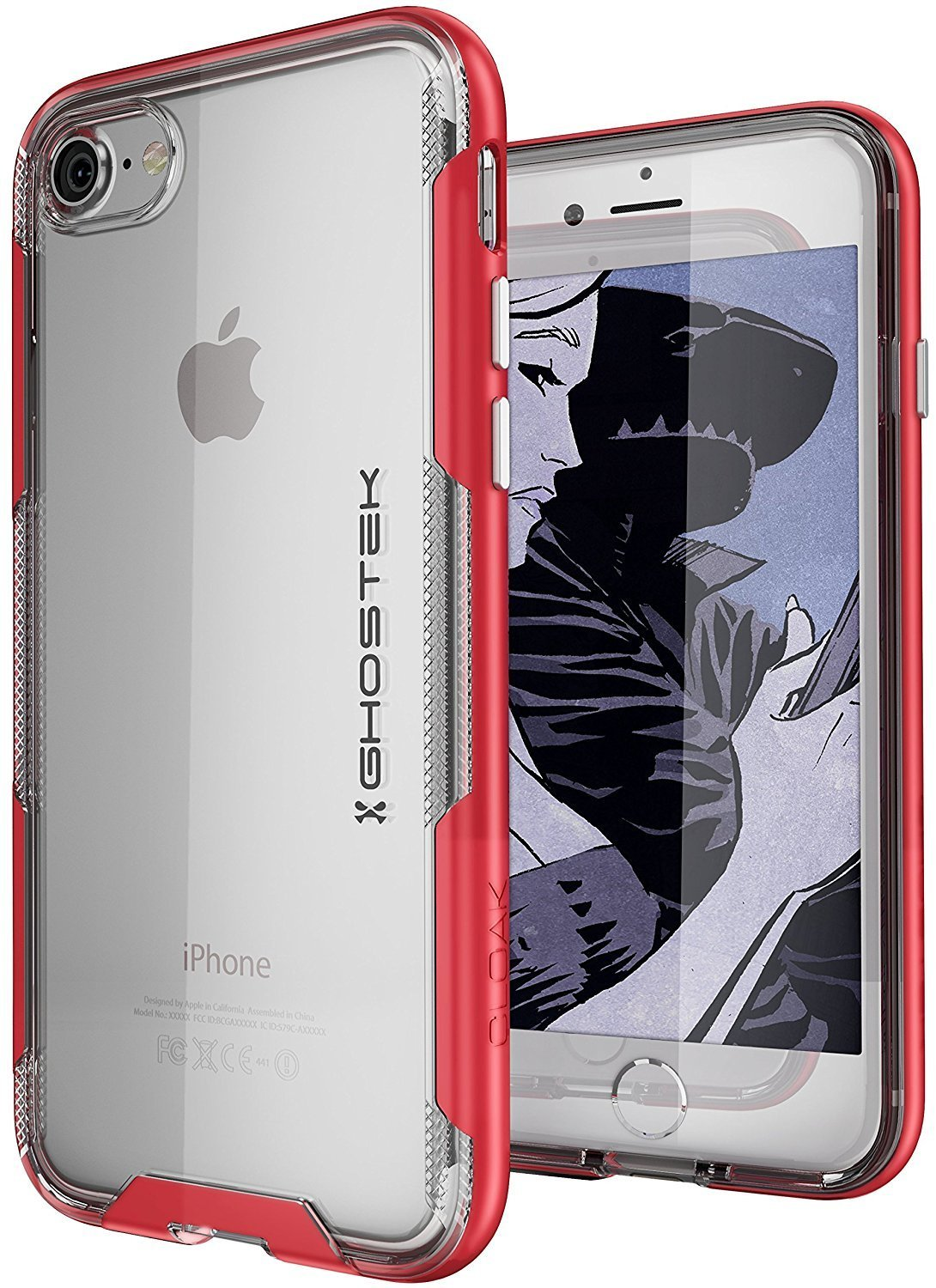 iPhone 7 Case, Ghostek Cloak 3 Series for iPhone 7 Clear Protective Case | Red