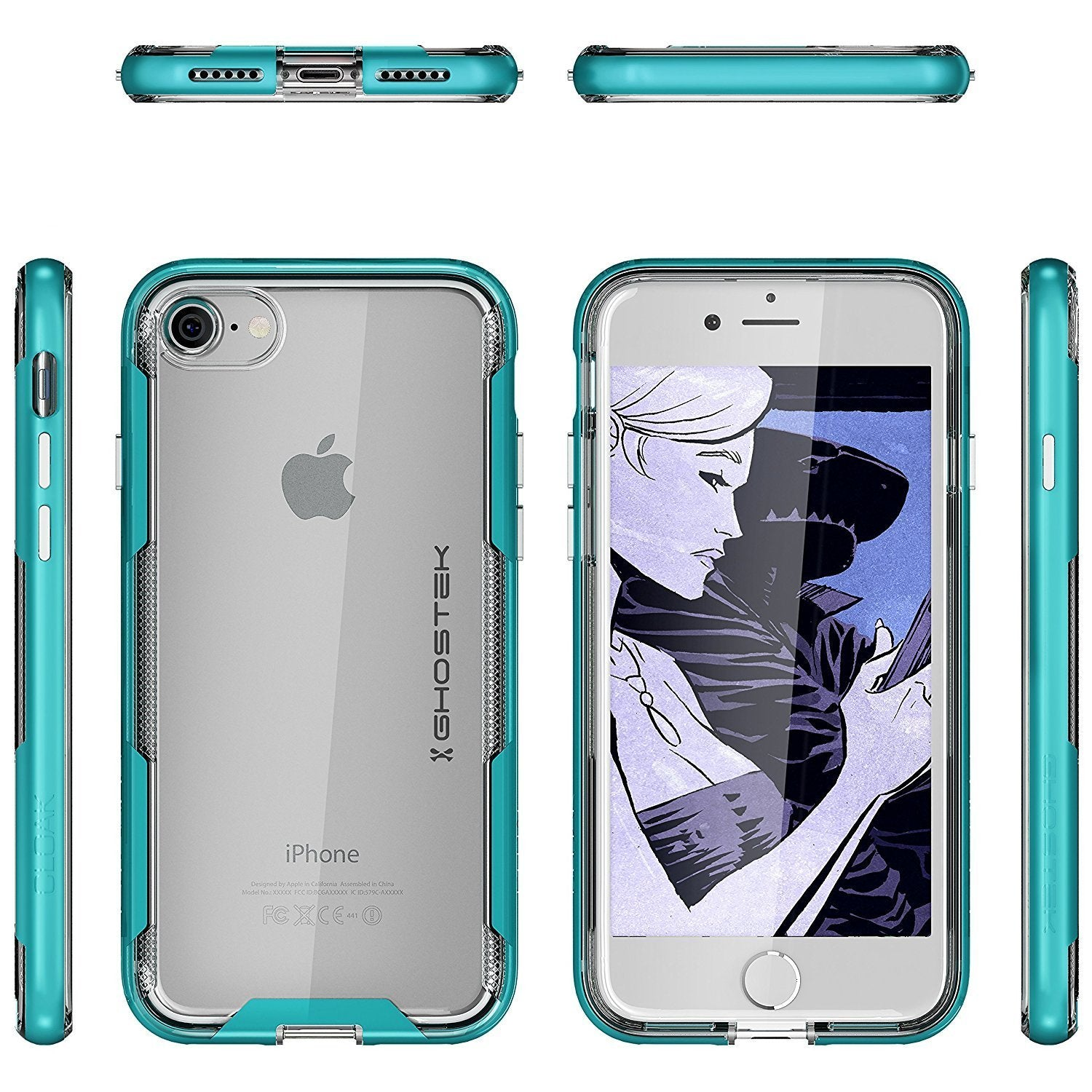 iPhone 7 Case, Ghostek Cloak 3 Series for iPhone 7 Clear Protective Case | Teal