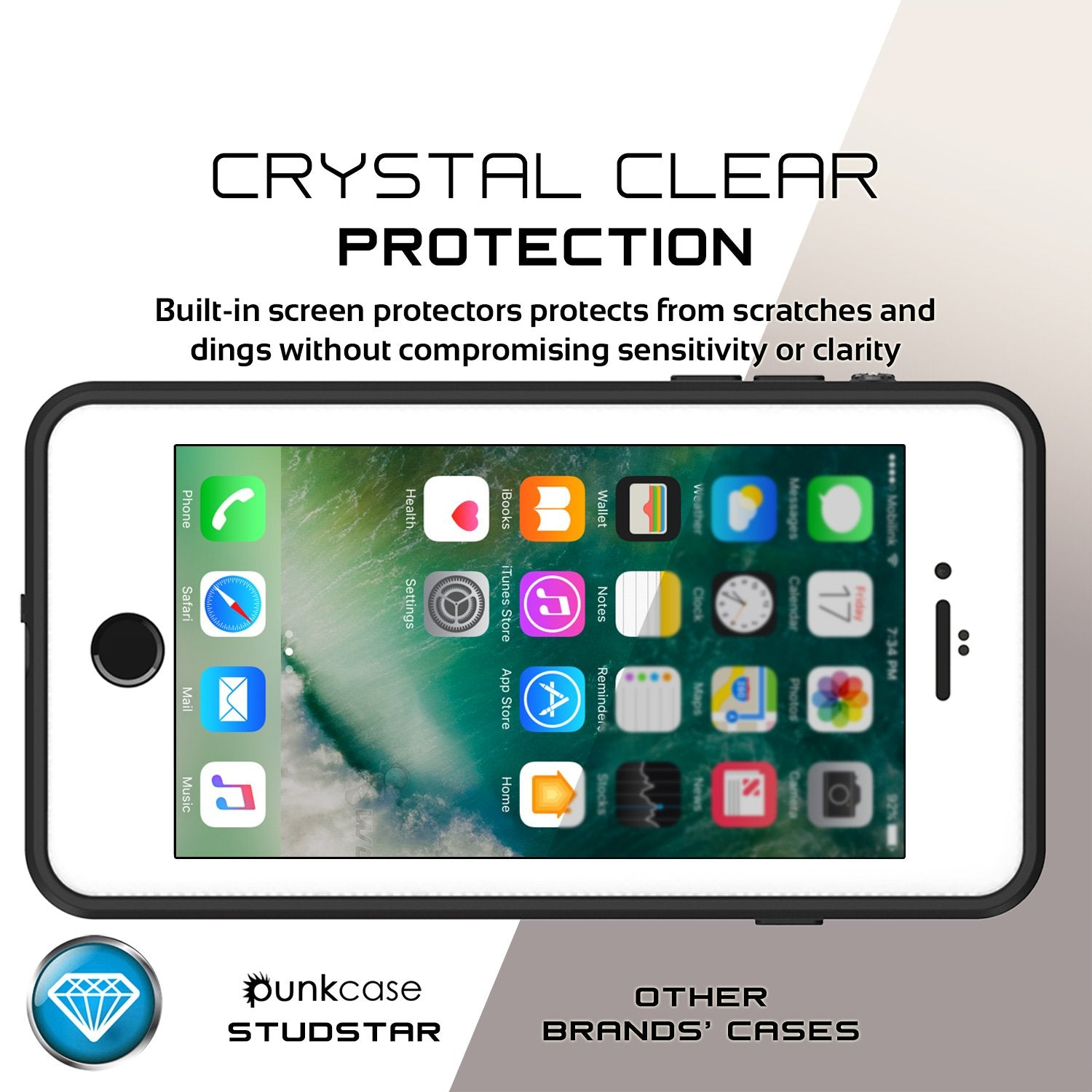 iPhone 8+ Plus Waterproof Case, Punkcase [StudStar Series] [Clear] [Slim Fit] [IP68 Certified] [Shockproof] [Dirtproof] Armor Cover