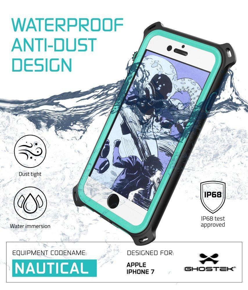 iPhone  8  Waterproof Case, Ghostek Nautical Series for iPhone  8  | Slim Underwater Protection | Adventure Duty | Ultra Fit | Swimming (Teal)