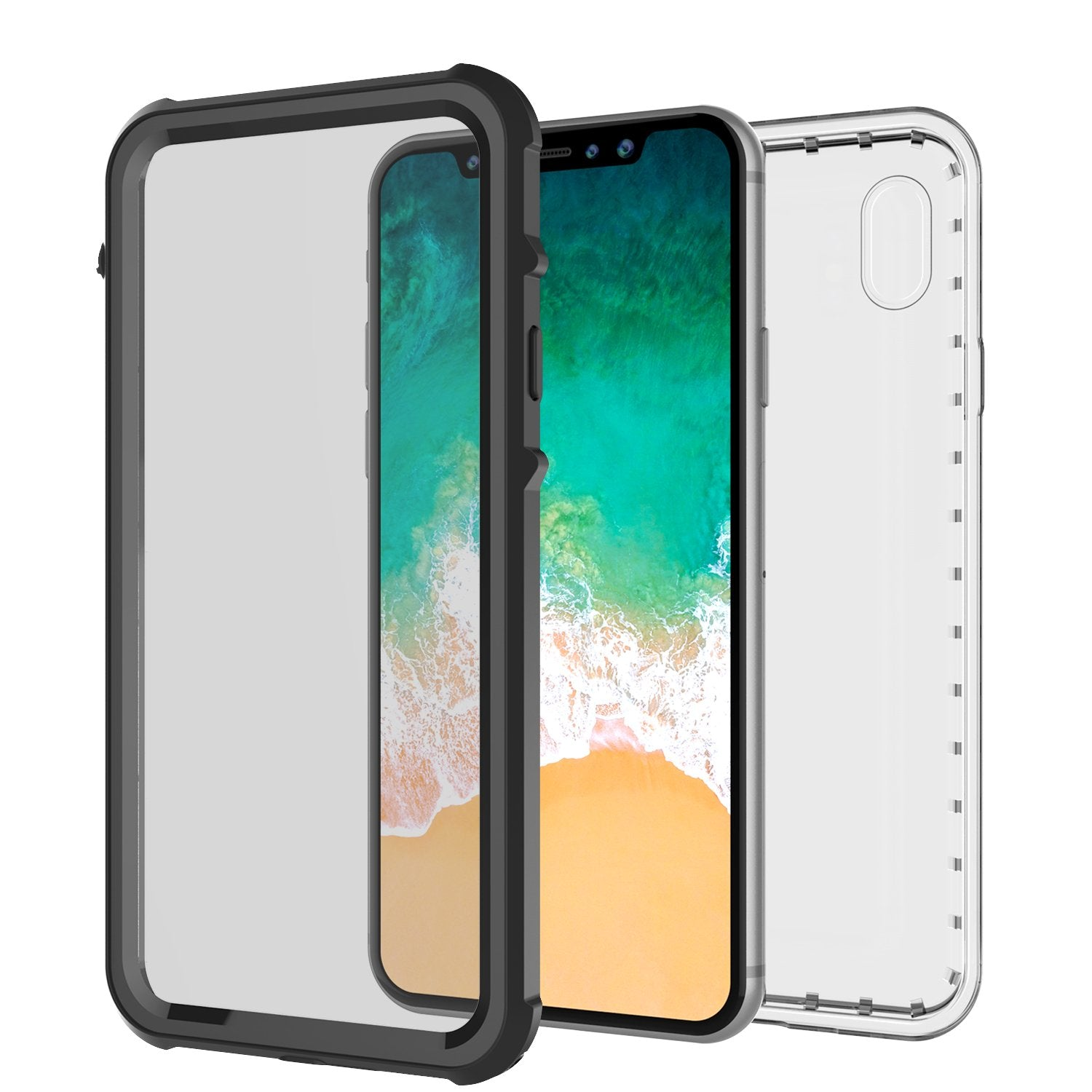 iPhone X Case, PUNKCase [CRYSTAL SERIES] Protective IP68 Certified Cover W/ Attached Screen Protector - DustPROOF, ShockPROOF, SnowPROOF - Ultra Slim Fit for Apple iPhone 10 [BLACK]