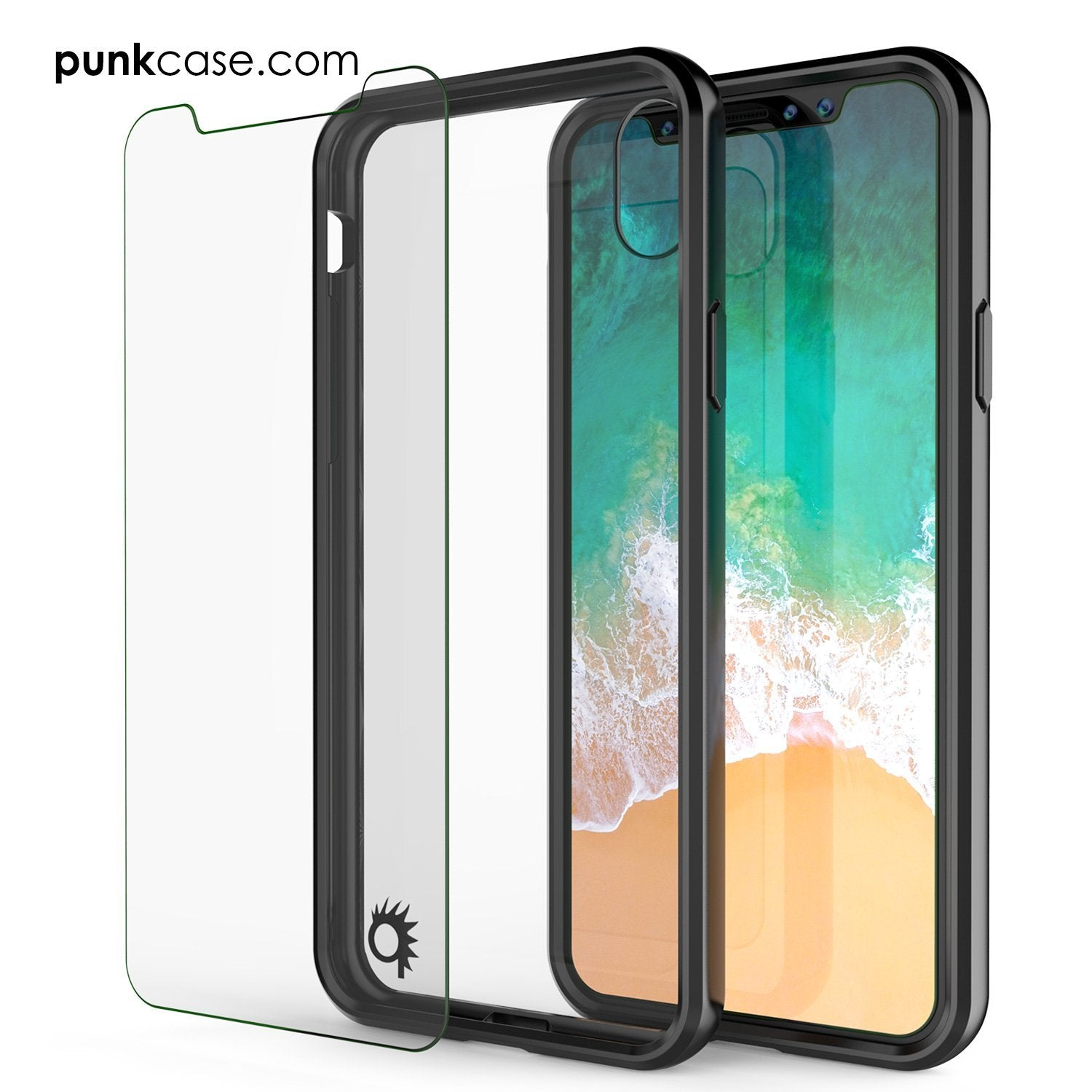 iPhone X Case, PUNKcase [LUCID 2.0 Series] [Slim Fit] Armor Cover W/Integrated Anti-Shock System & Tempered Glass PUNKSHIELD Screen Protector [Black]
