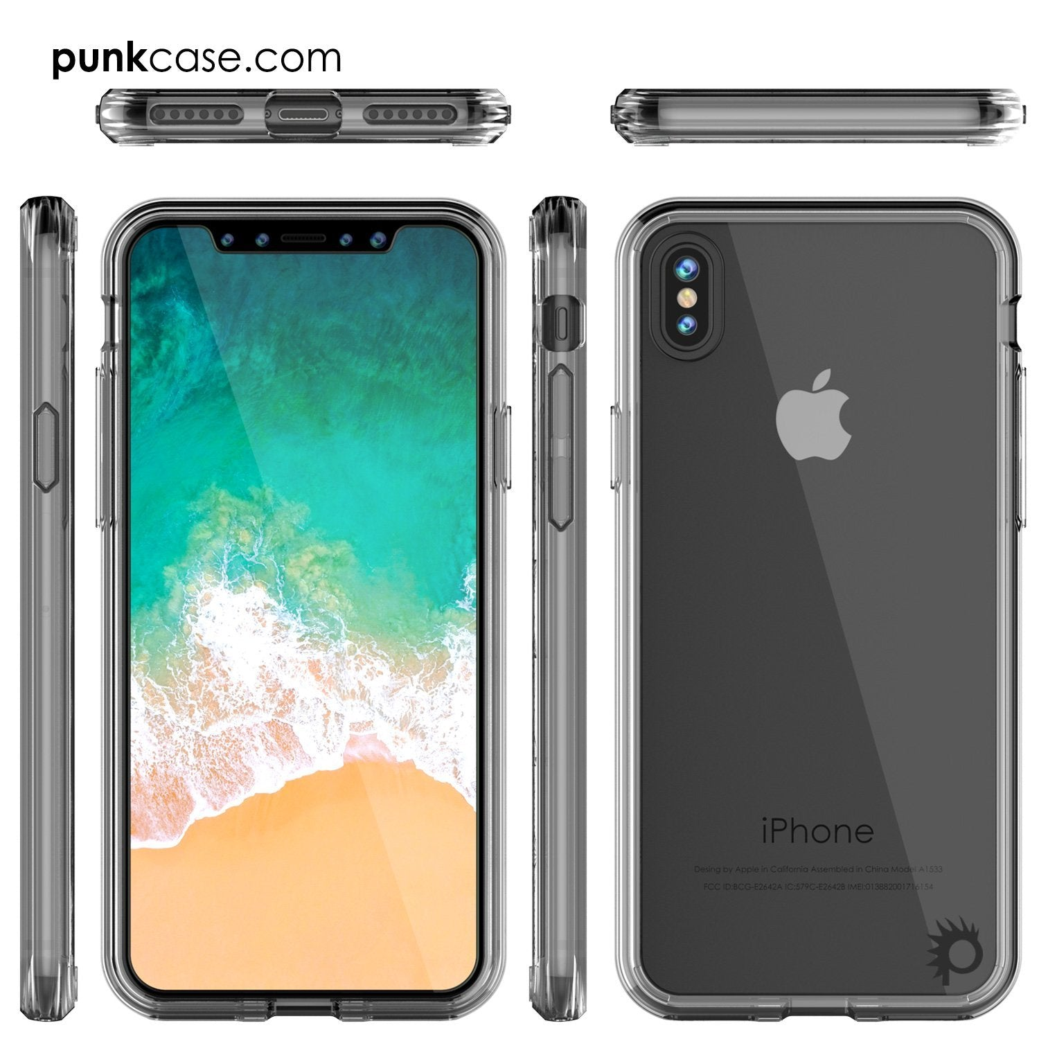 iPhone X Case, PUNKcase [LUCID 2.0 Series] [Slim Fit] Armor Cover W/Integrated Anti-Shock System & Tempered Glass PUNKSHIELD Screen Protector [Clear]
