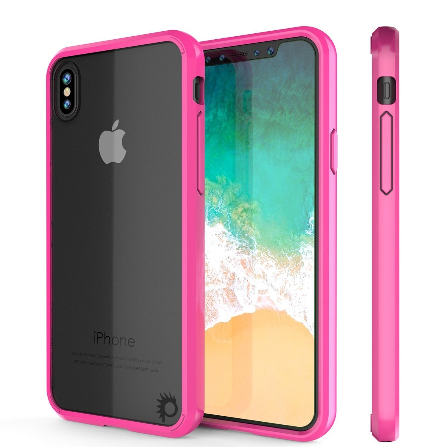 iPhone X Case, PUNKcase [LUCID 2.0 Series] [Slim Fit] Armor Cover W/Integrated Anti-Shock System & Tempered Glass PUNKSHIELD Screen Protector [Pink]