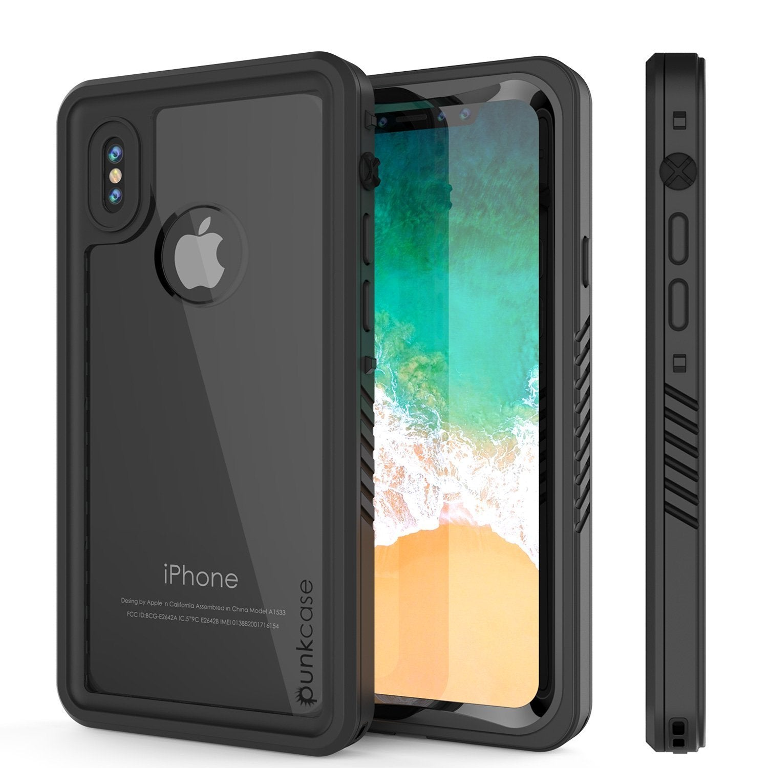 iPhone XS Max Waterproof Case, Punkcase [Extreme Series] Armor Cover W/ Built In Screen Protector [Black]