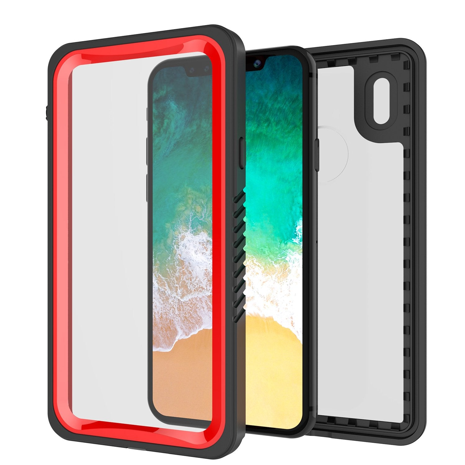 iPhone X Case, Punkcase [Extreme Series] [Slim Fit] [IP68 Certified] [Shockproof] [Snowproof] [Dirproof] Armor Cover W/ Built In Screen Protector for Apple iPhone 10 [Red]