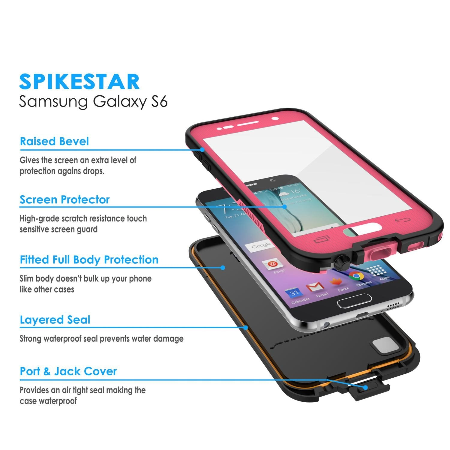 Galaxy S6 Waterproof Case, Punkcase SpikeStar Pink Water/Shock/Dirt/Snow Proof | Lifetime Warranty