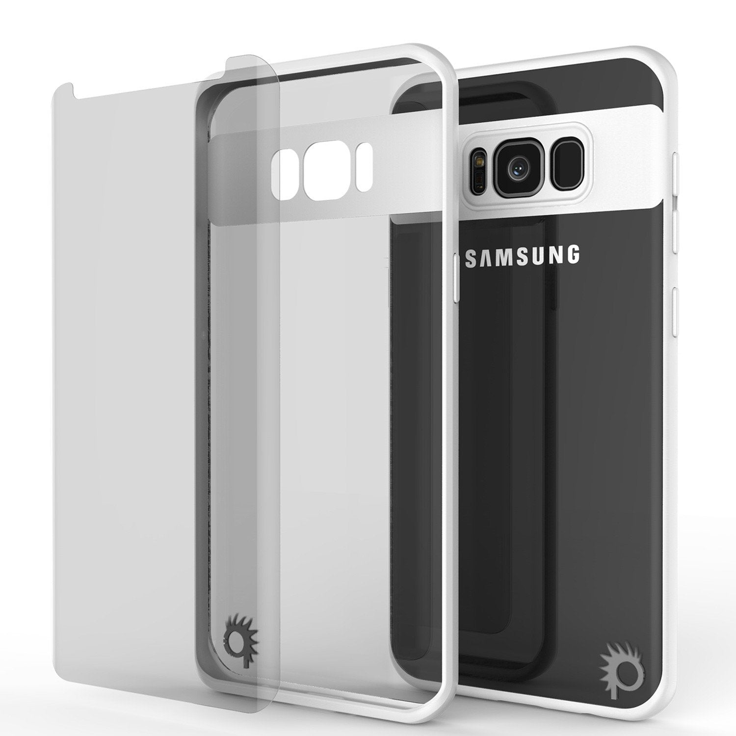 Galaxy S8 Case, Punkcase [MASK Series] [WHITE] Full Body Hybrid Dual Layer TPU Cover W/ Protective PUNKSHIELD Screen Protector