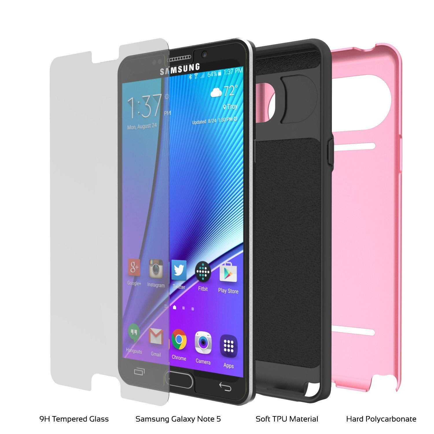 Galaxy Note 5 Case PunkCase CLUTCH Pink Series Slim Armor Soft Cover Case w/ Tempered Glass