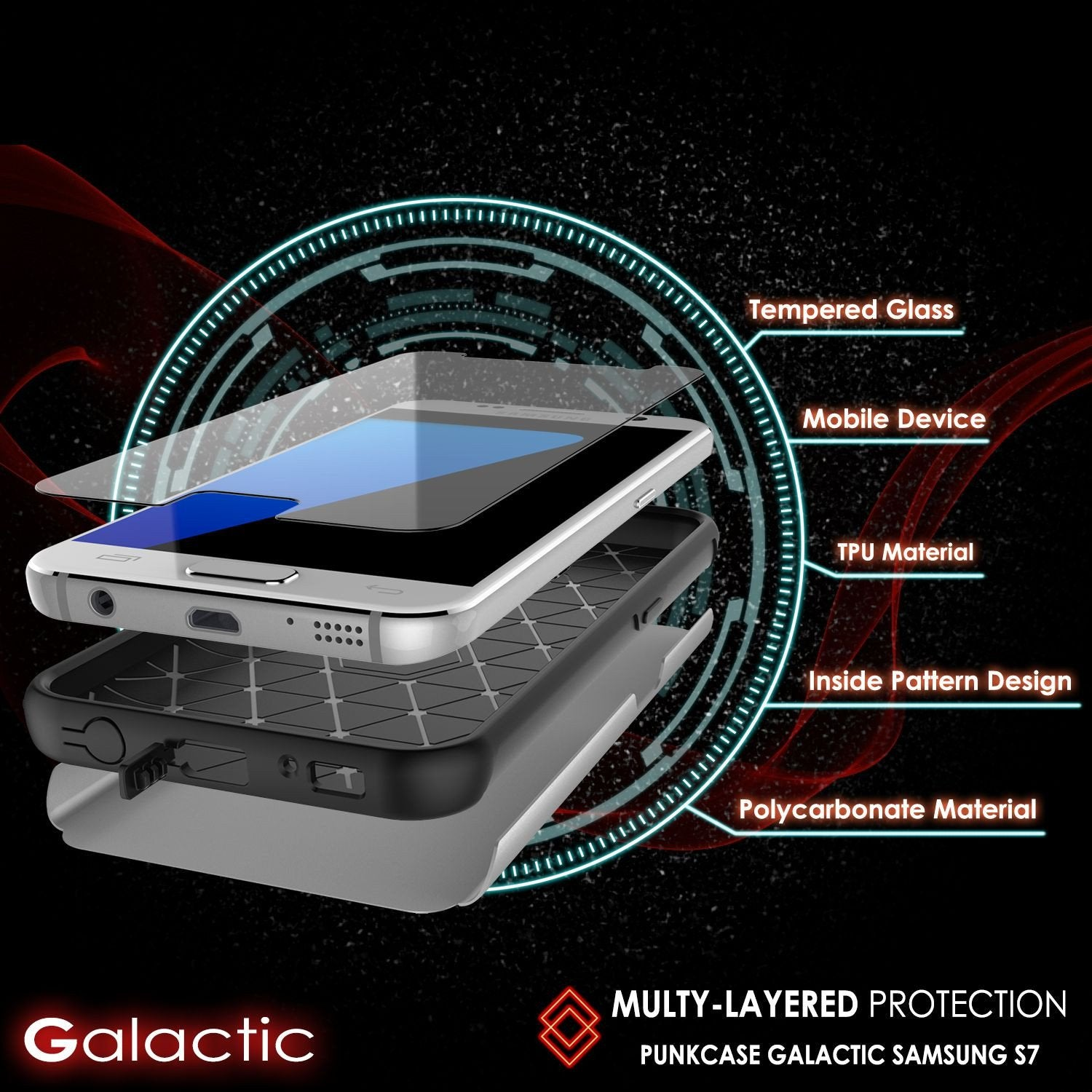 Galaxy s7 Case PunkCase Galactic Silver Slim Protective Armor Soft Cover Case w/ Tempered Glass