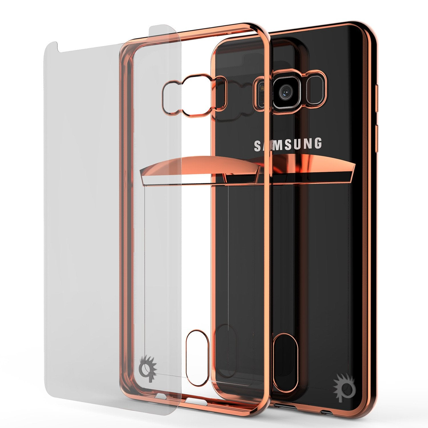 Galaxy S8  Ultra Screen Protector W/ Card Slot Case [Rose Gold]
