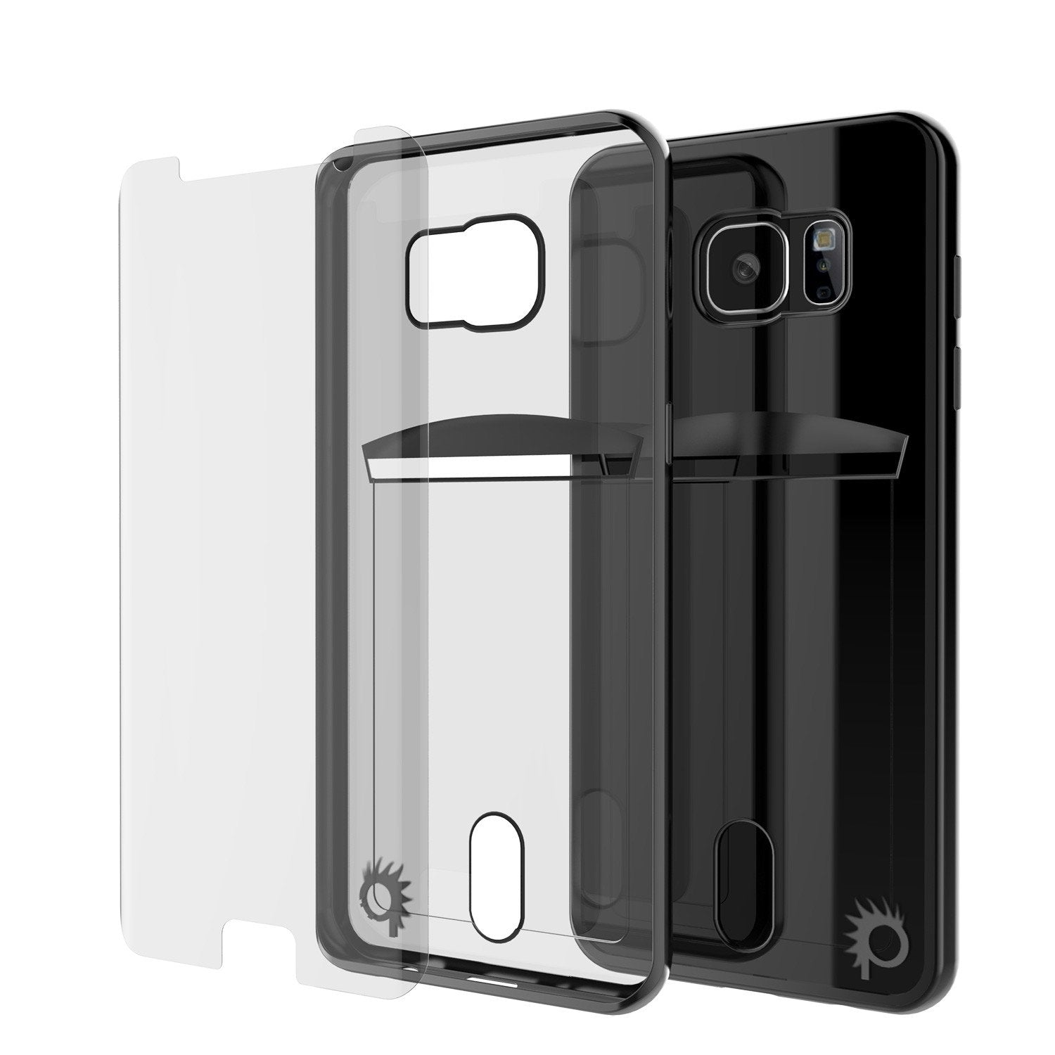 Galaxy S6 EDGE+ Plus Case, PUNKCASE® LUCID Black Series | Card Slot | SHIELD Screen Protector