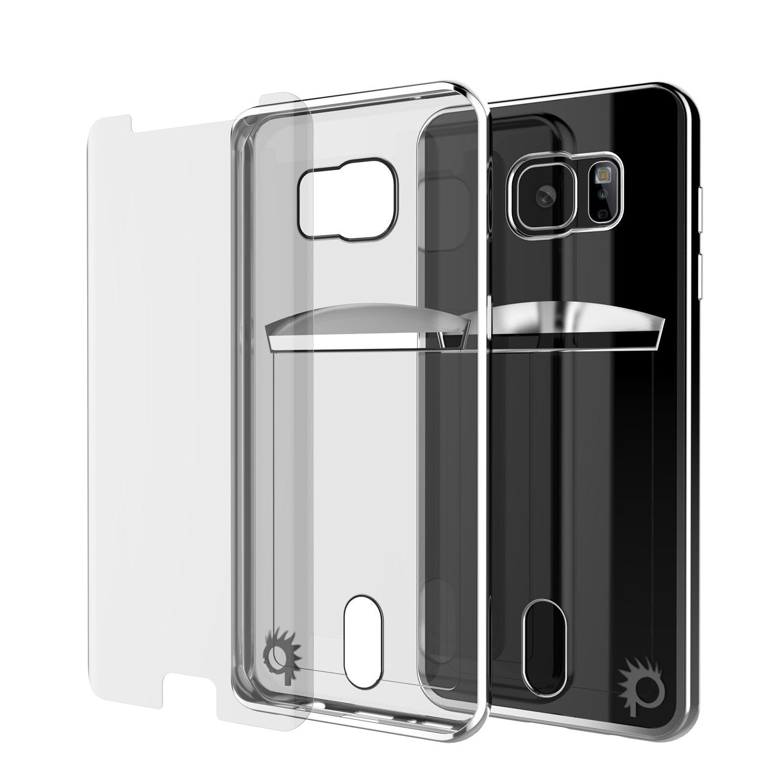 Galaxy S6 EDGE Case, PUNKCASE® LUCID Silver Series | Card Slot | SHIELD Screen Protector | Ultra fit