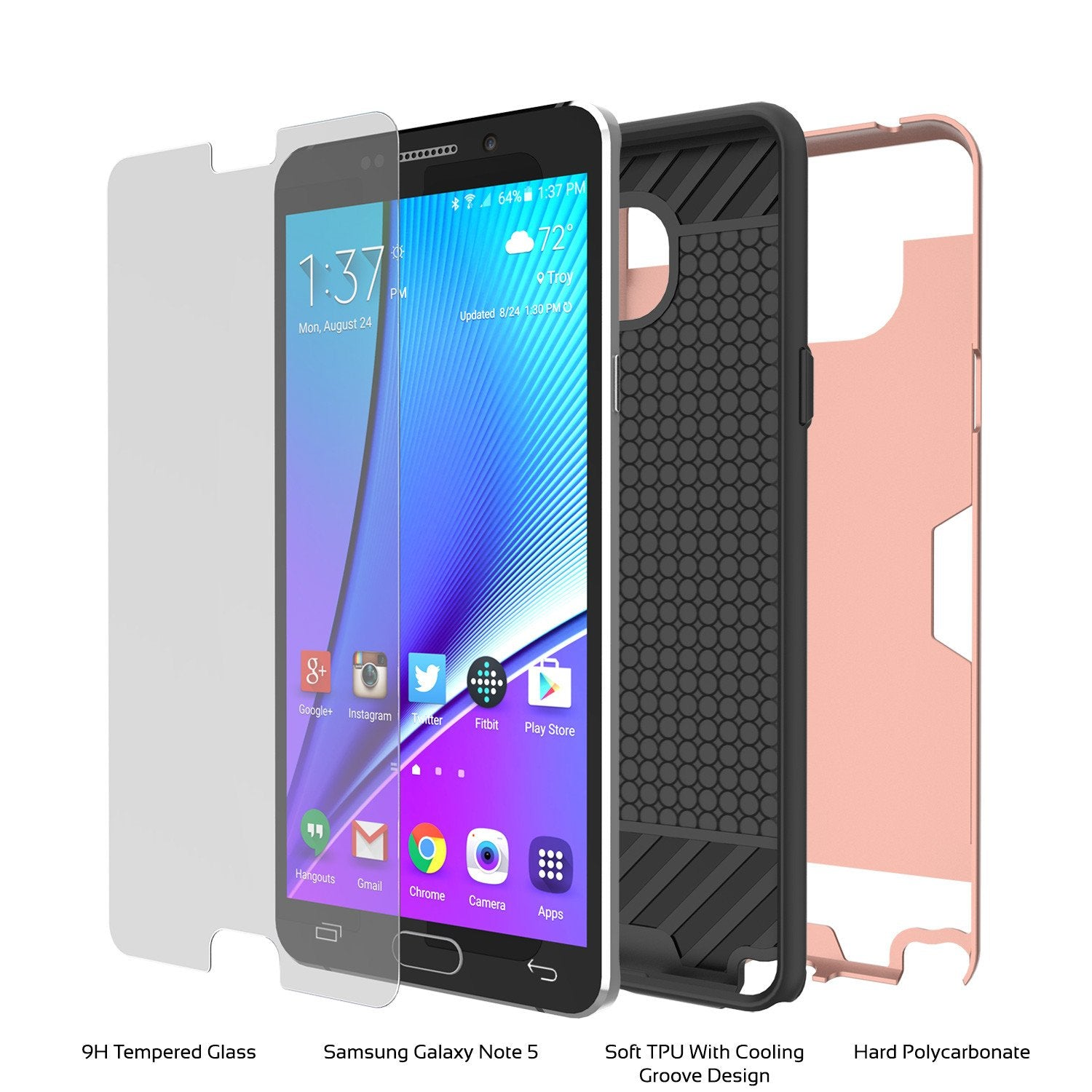 Galaxy Note 5 Case PunkCase SLOT Rose Series Slim Armor Soft Cover Case w/ Tempered Glass