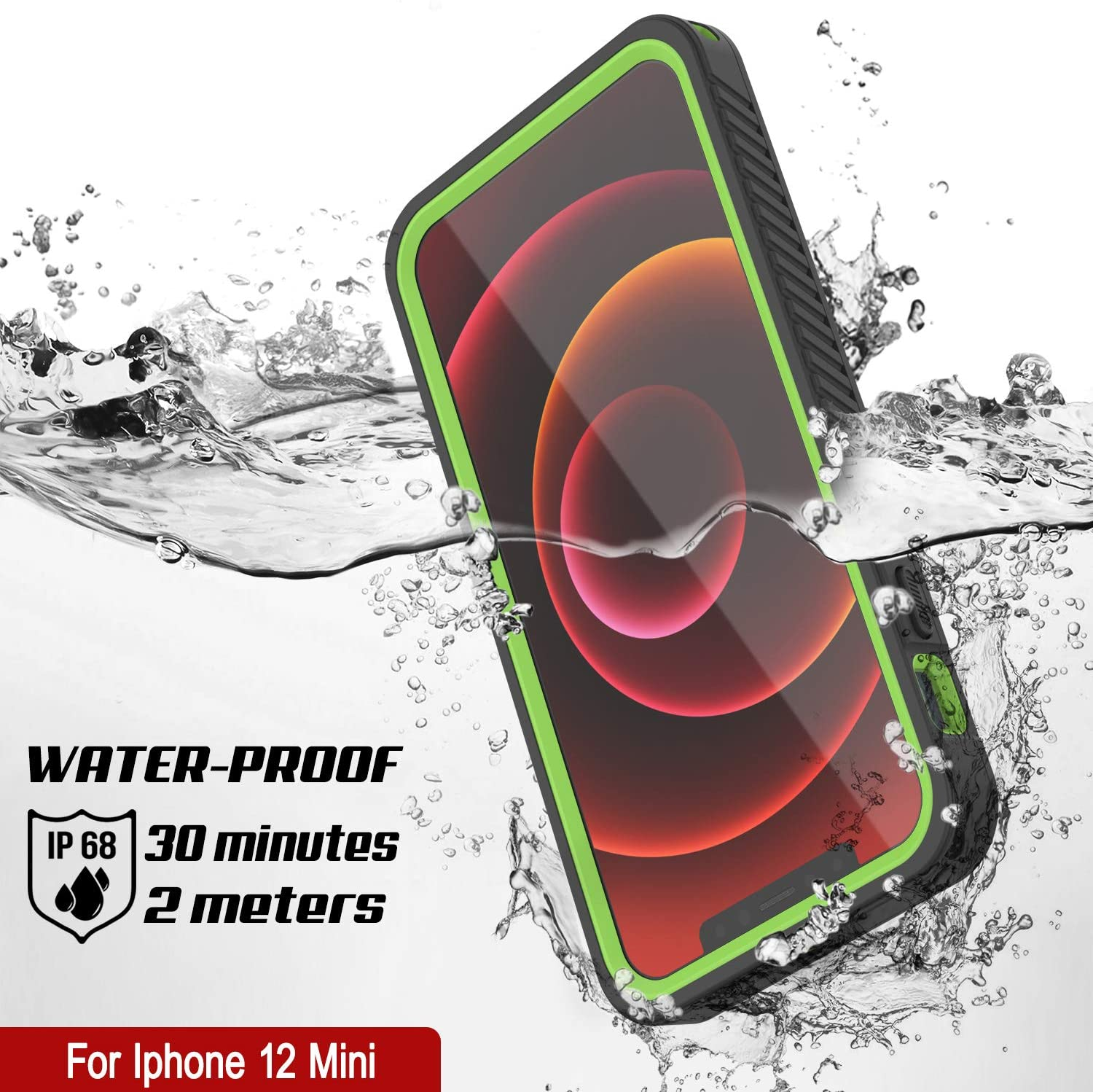 iPhone 12 Mini Waterproof Case, Punkcase [Extreme Series] Armor Cover W/ Built In Screen Protector [Light Green]