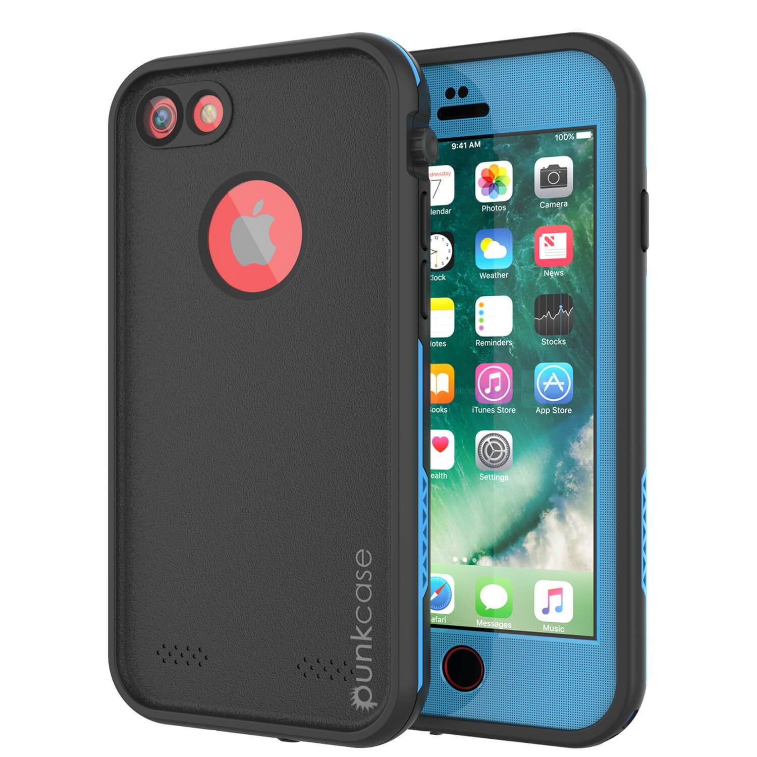 iPhone 7 Waterproof Case, Punkcase SpikeStar Light-Blue Series | Thin Fit 6.6ft Underwater IP68