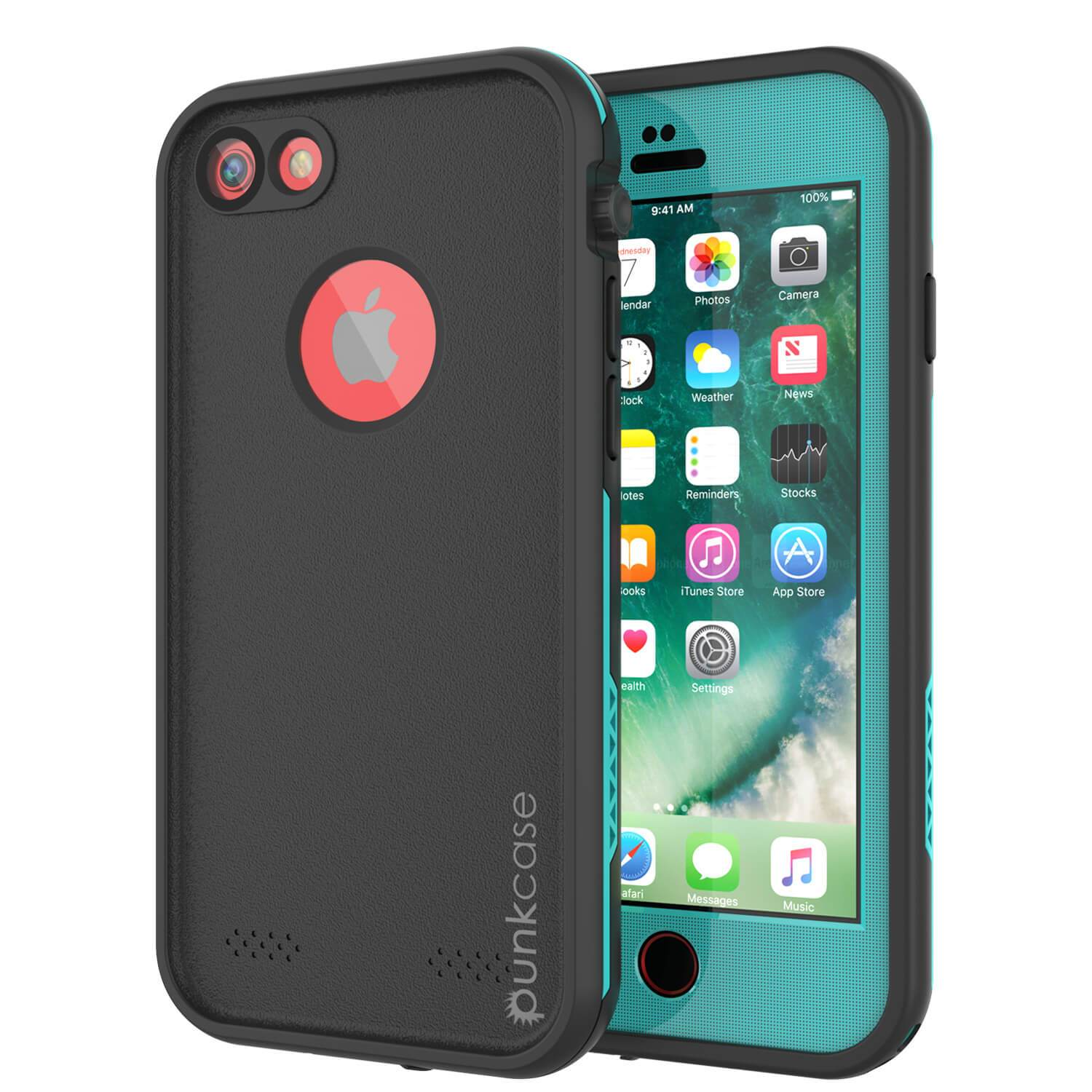 iPhone 7 Waterproof Case, Punkcase SpikeStar Teal Series | Thin Fit 6.6ft Underwater IP68