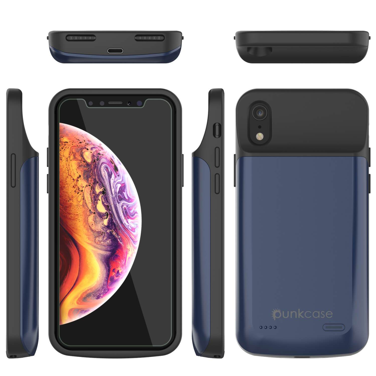 iphone XR Battery Case, PunkJuice 5000mAH Fast Charging Power Bank W/ Screen Protector | [Blue]