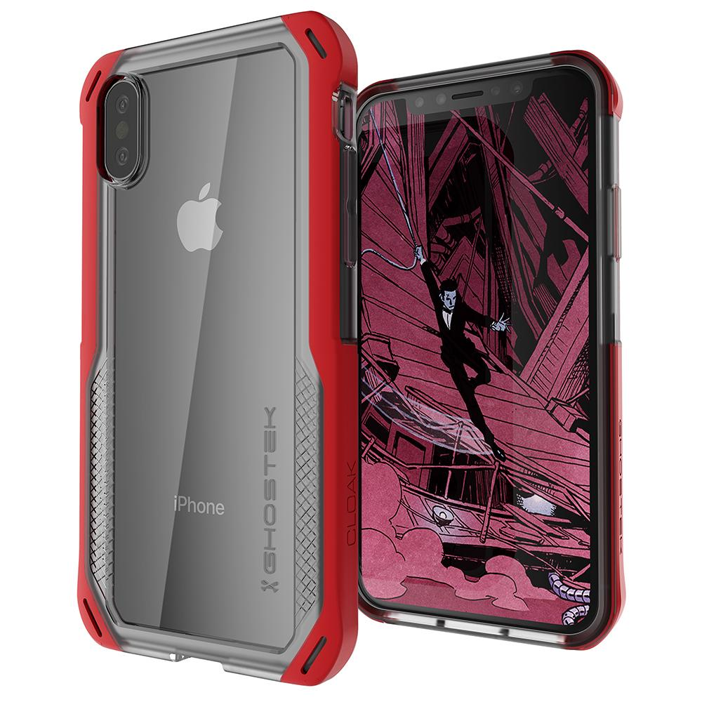 iPhone Xs Case, Ghostek Cloak 4 Series  for iPhone Xs / iPhone Pro Case | RED-CLEAR
