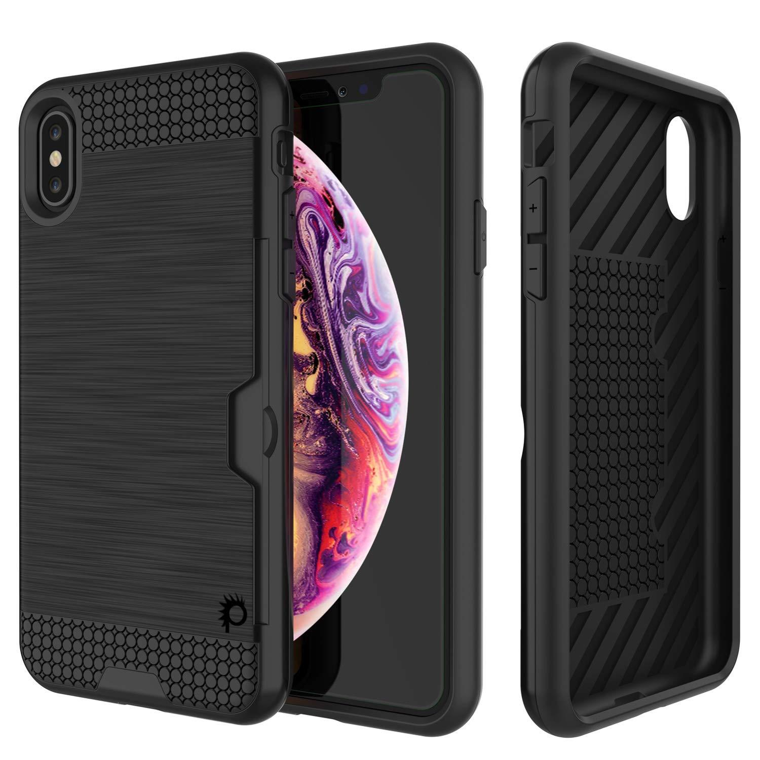 iPhone XS Case, PUNKcase [SLOT Series] Slim Fit Dual-Layer Armor Cover [Black]