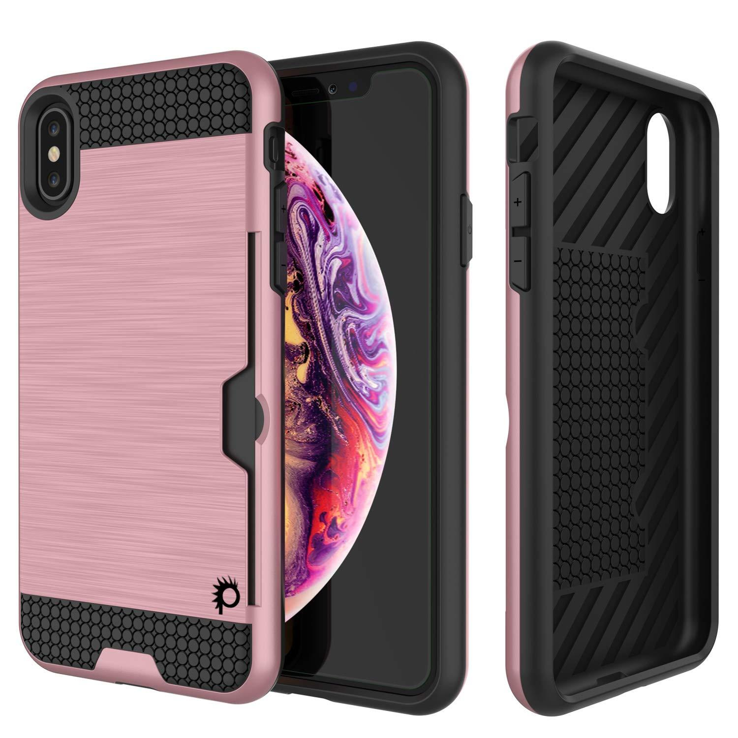 iPhone XS Case, PUNKcase [SLOT Series] Slim Fit Dual-Layer Armor Cover [Rose-Gold]