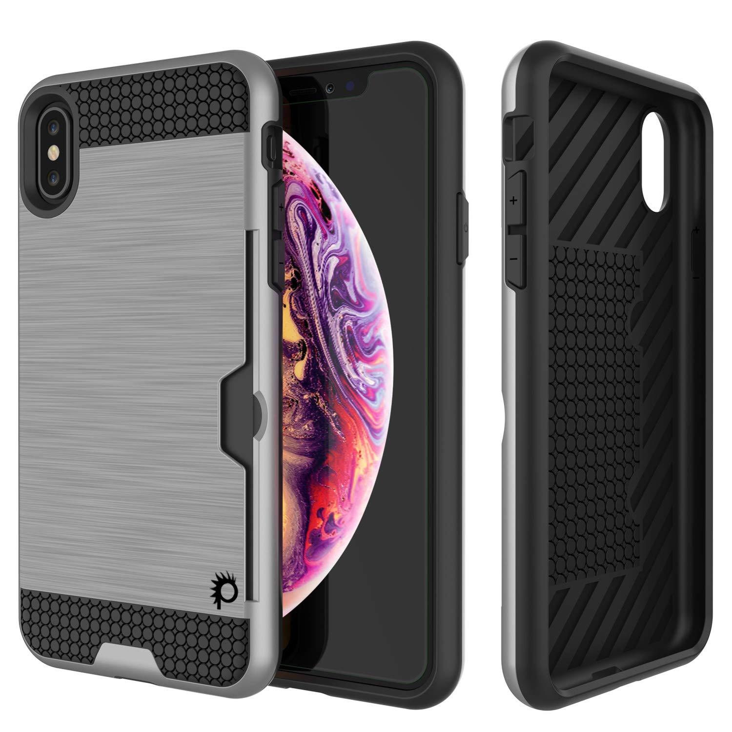 iPhone XS Case, PUNKcase [SLOT Series] Slim Fit Dual-Layer Armor Cover [Silver]