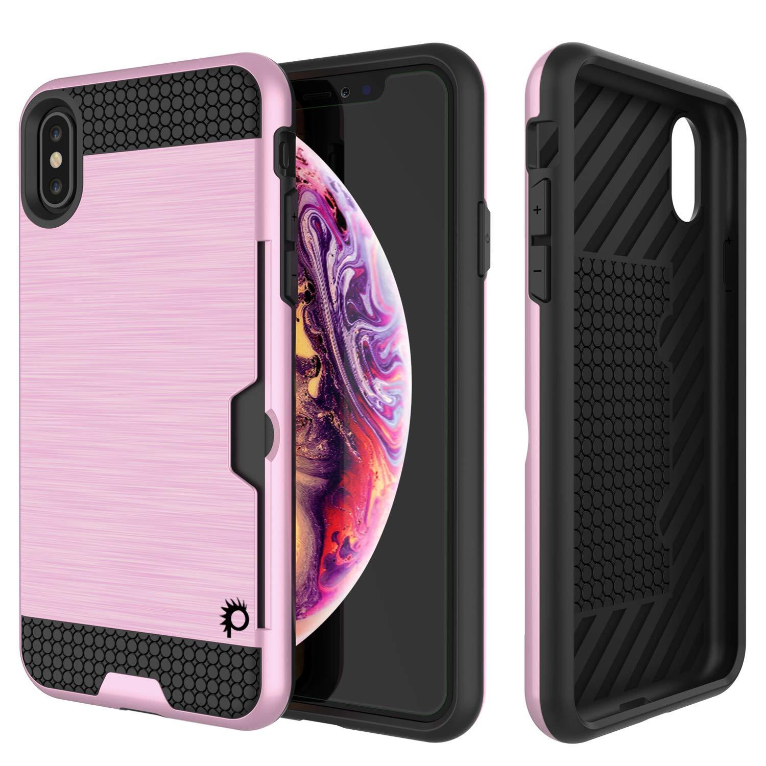 iPhone XS Case, PUNKcase [SLOT Series] Slim Fit Dual-Layer Armor Cover [Pink]