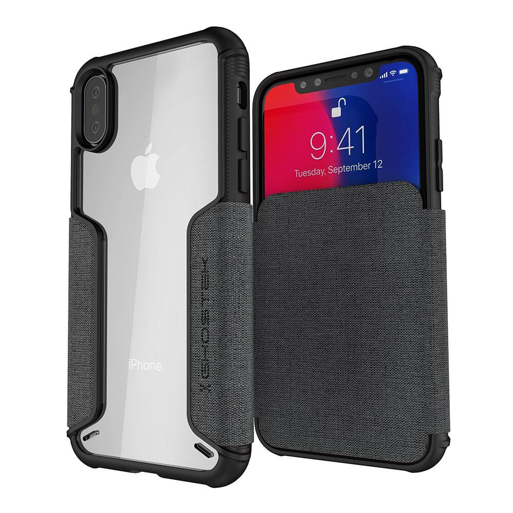 iPhone Xs Case, Ghostek Exec 3 Series for iPhone Xs / iPhone Pro Protective Wallet Case [Gray]