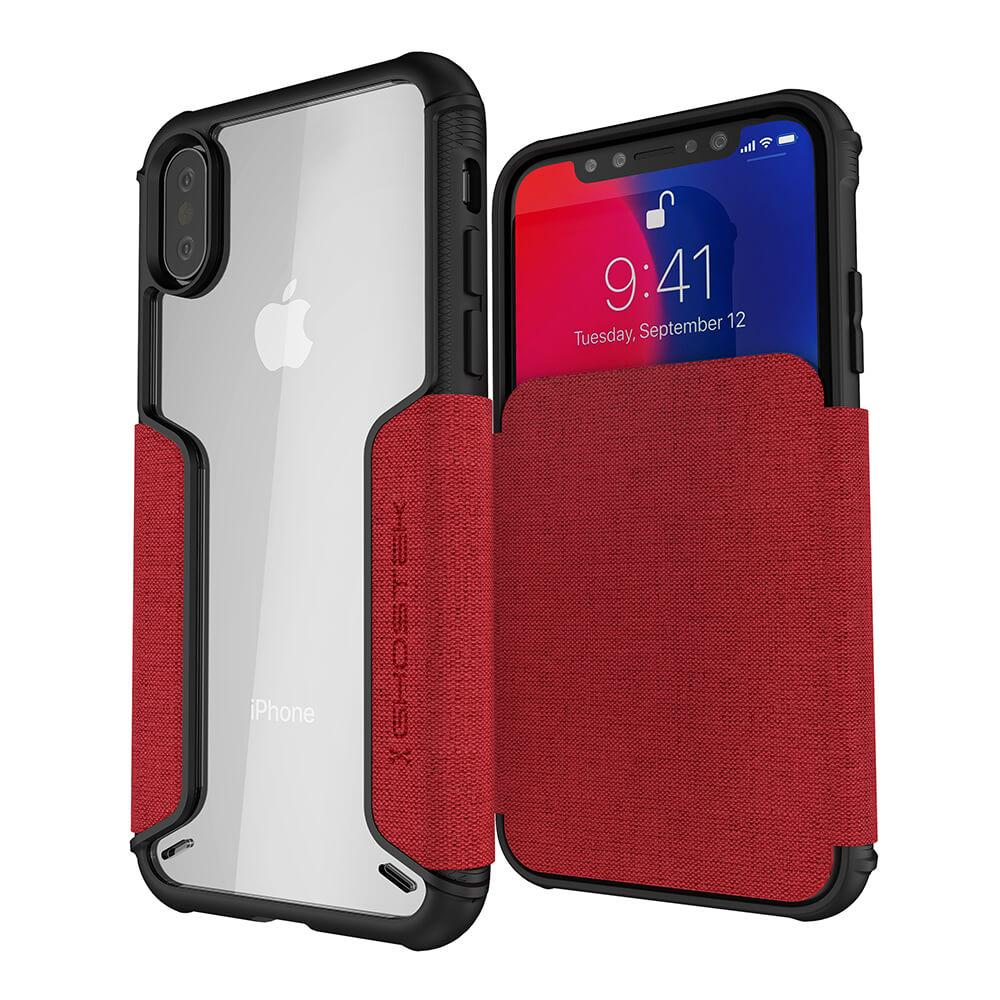 iPhone Xs Case, Ghostek Exec 3 Series for iPhone Xs / iPhone Pro Protective Wallet Case [RED]