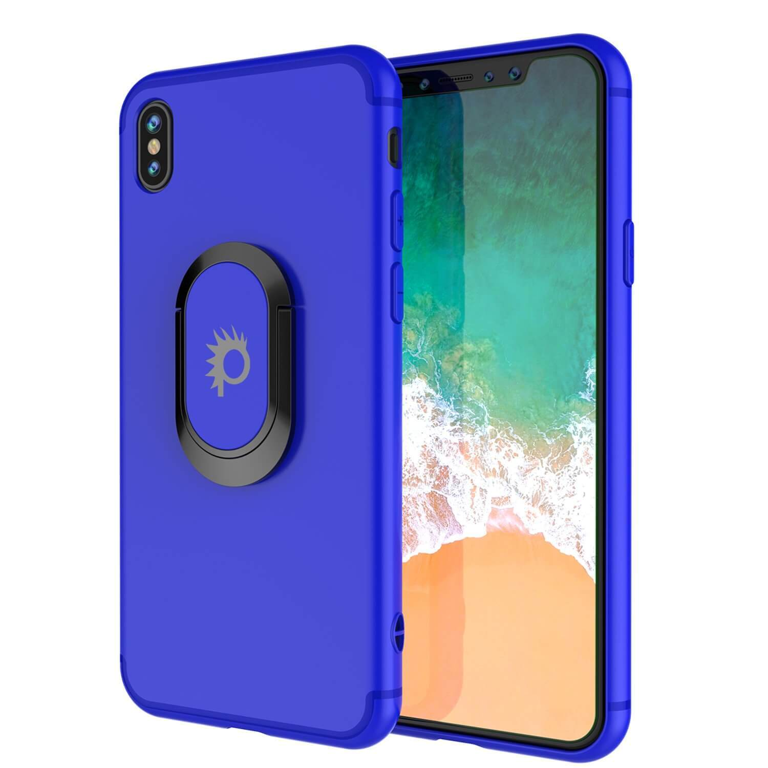 iPhone XS Max Case, Punkcase Magnetix Protective TPU Cover W/ Kickstand, Tempered Glass Screen Protector [Blue]