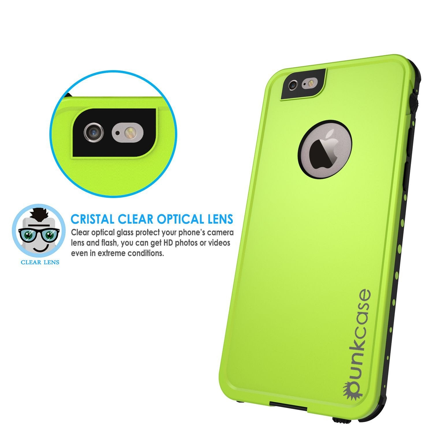 iPhone 6S+/6+ Plus Waterproof Case, PUNKcase StudStar Light Green w/ Attached Screen Protector