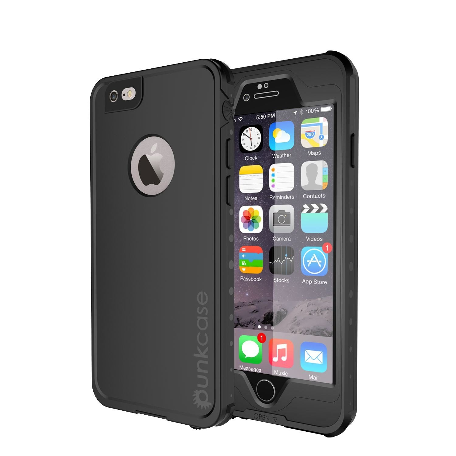 iPhone 6S+/6+ Plus Waterproof Case, PUNKcase StudStar Black w/ Attached Screen Protector | Warranty