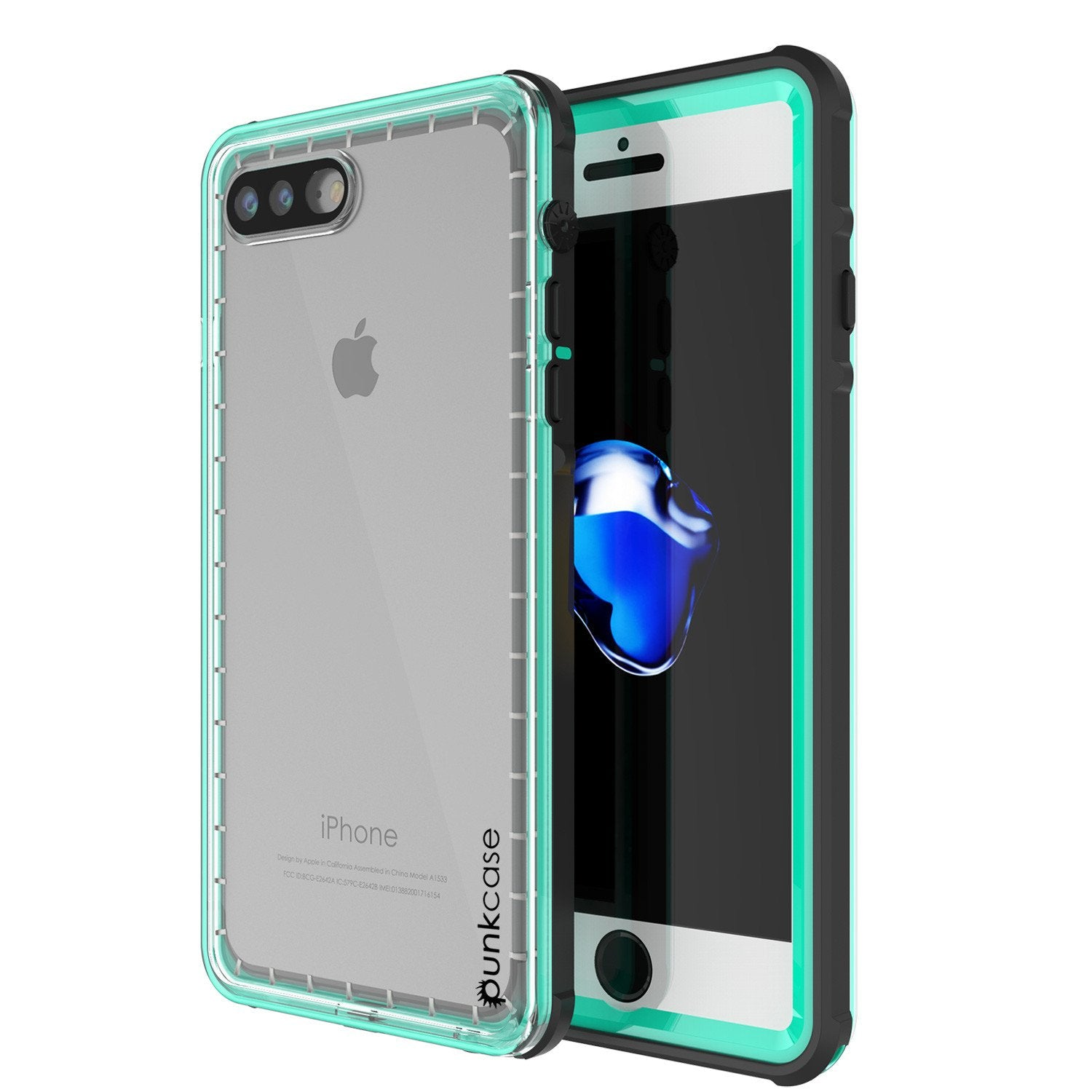 iPhone 7+ Plus Waterproof Case, PUNKcase CRYSTAL Teal W/ Attached Screen Protector  | Warranty