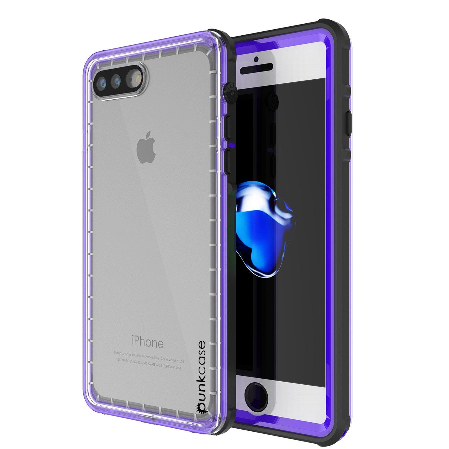iPhone 7+ Plus Waterproof Case, PUNKcase CRYSTAL Purple W/ Attached Screen Protector  | Warranty